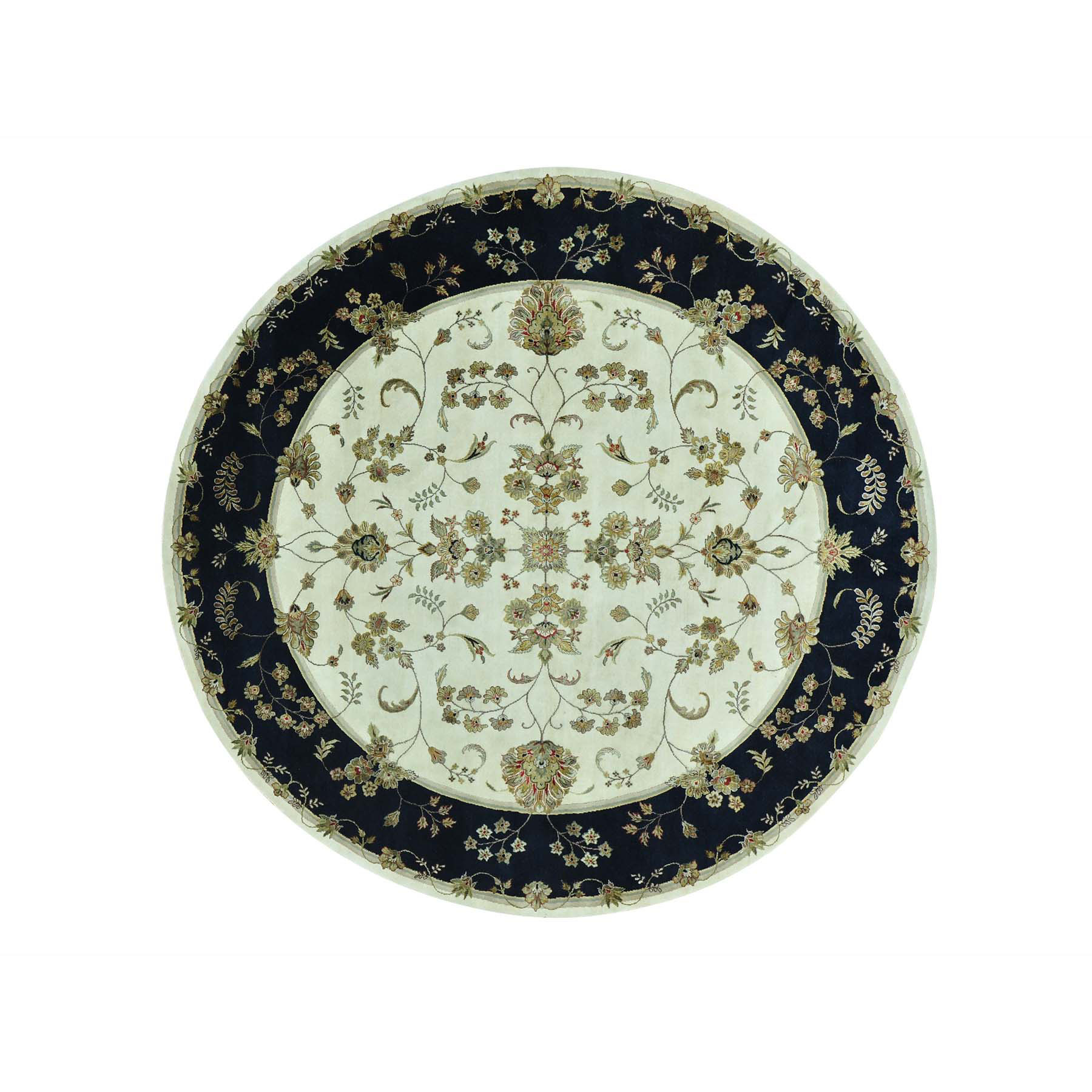 9'x9' Round Rajasthan Floral Design Wool And Silk Hand Woven Rug