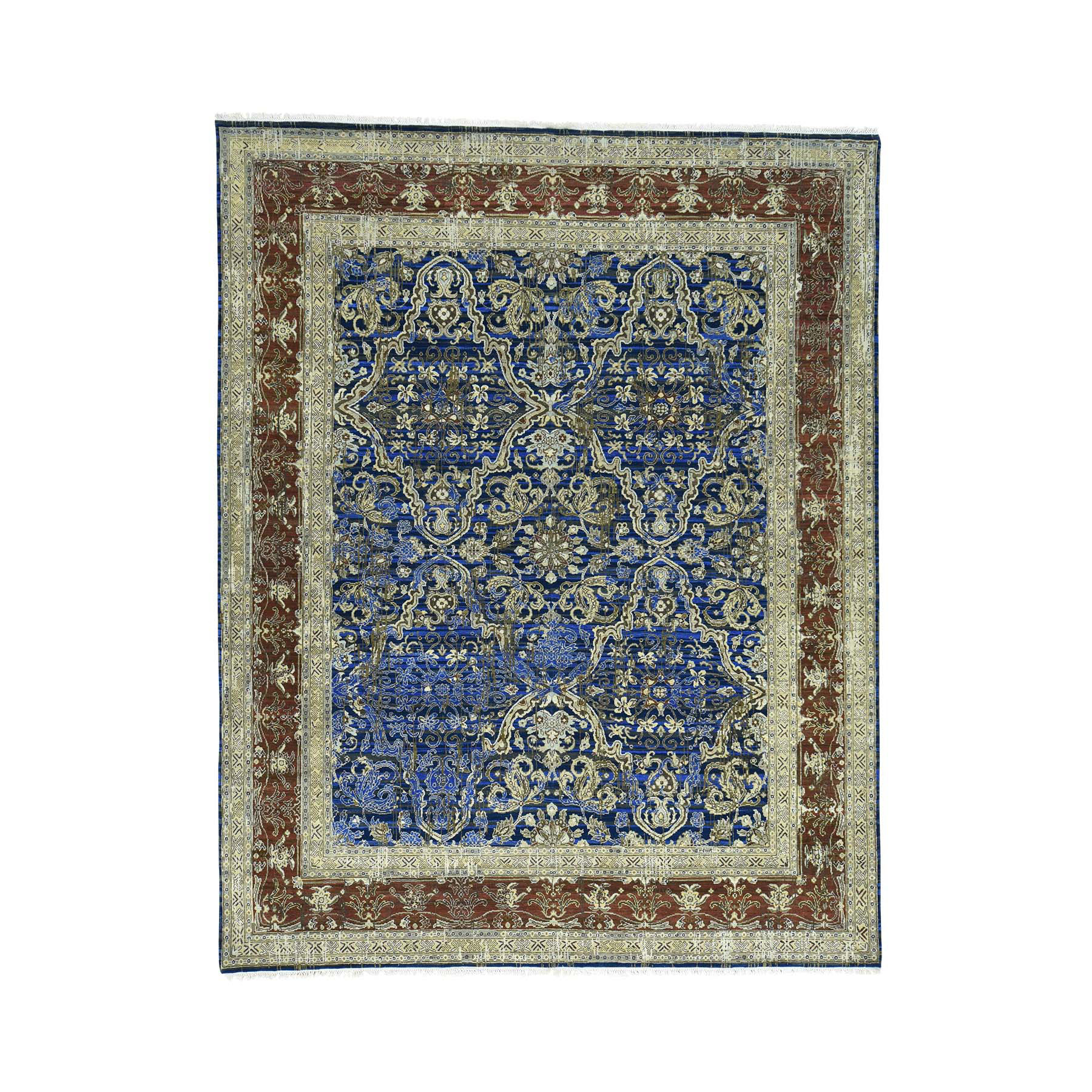 "8'x10'2"" Wool And Silk Hand Woven Abrash Oriental Rug"