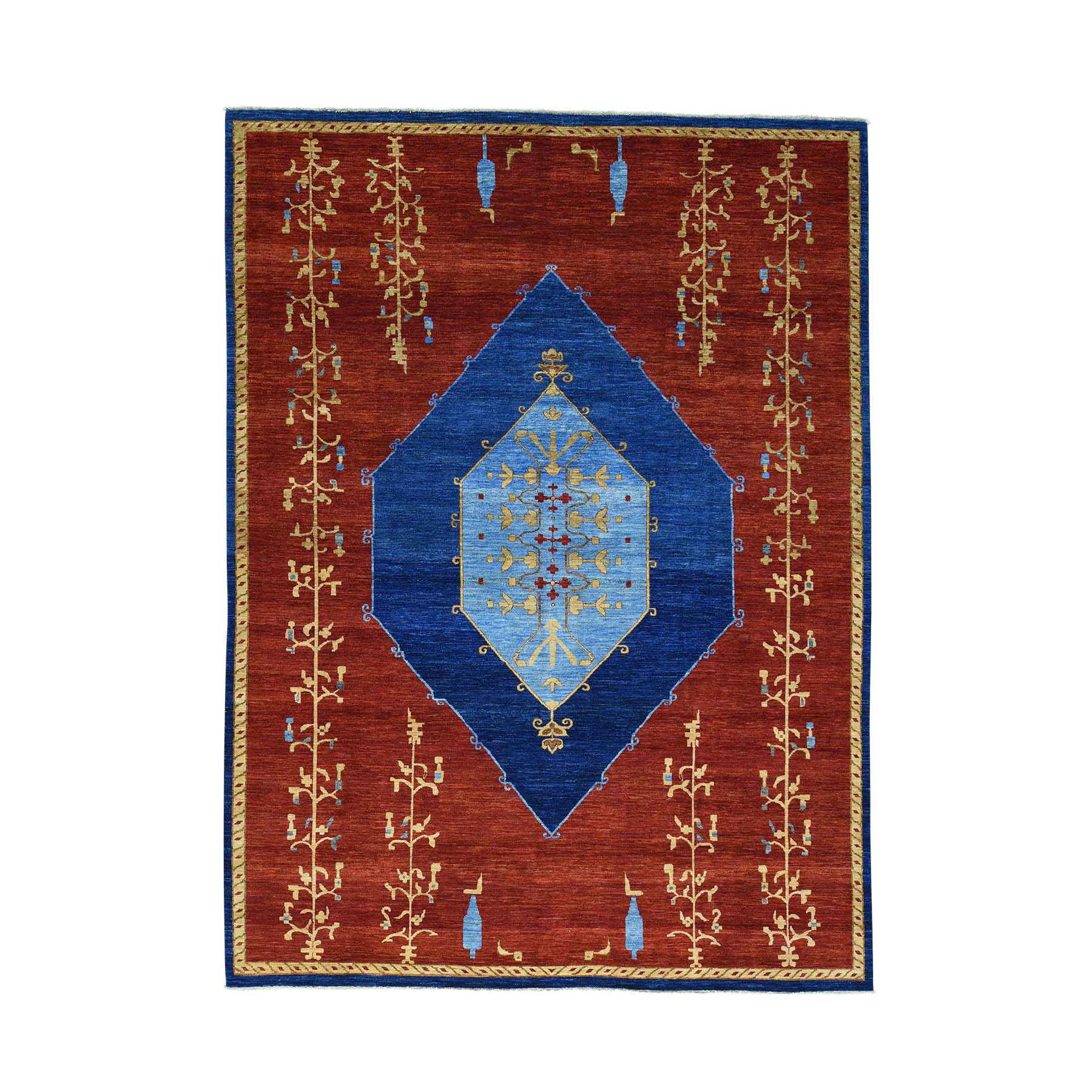 "10'3""x14' Open Field Antiqued Bijar Natural Dyes Hand Woven Rug"