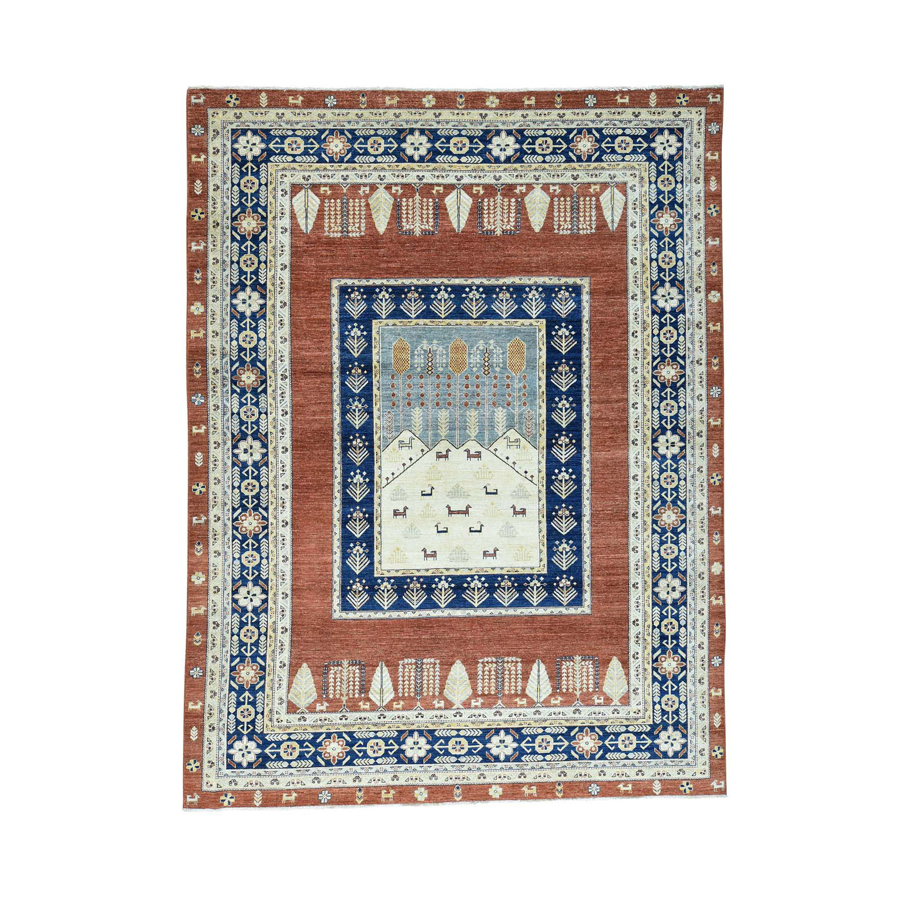 9'x12' Pictorial Tree Design Pure Wool Hand Woven Peshawar Rug