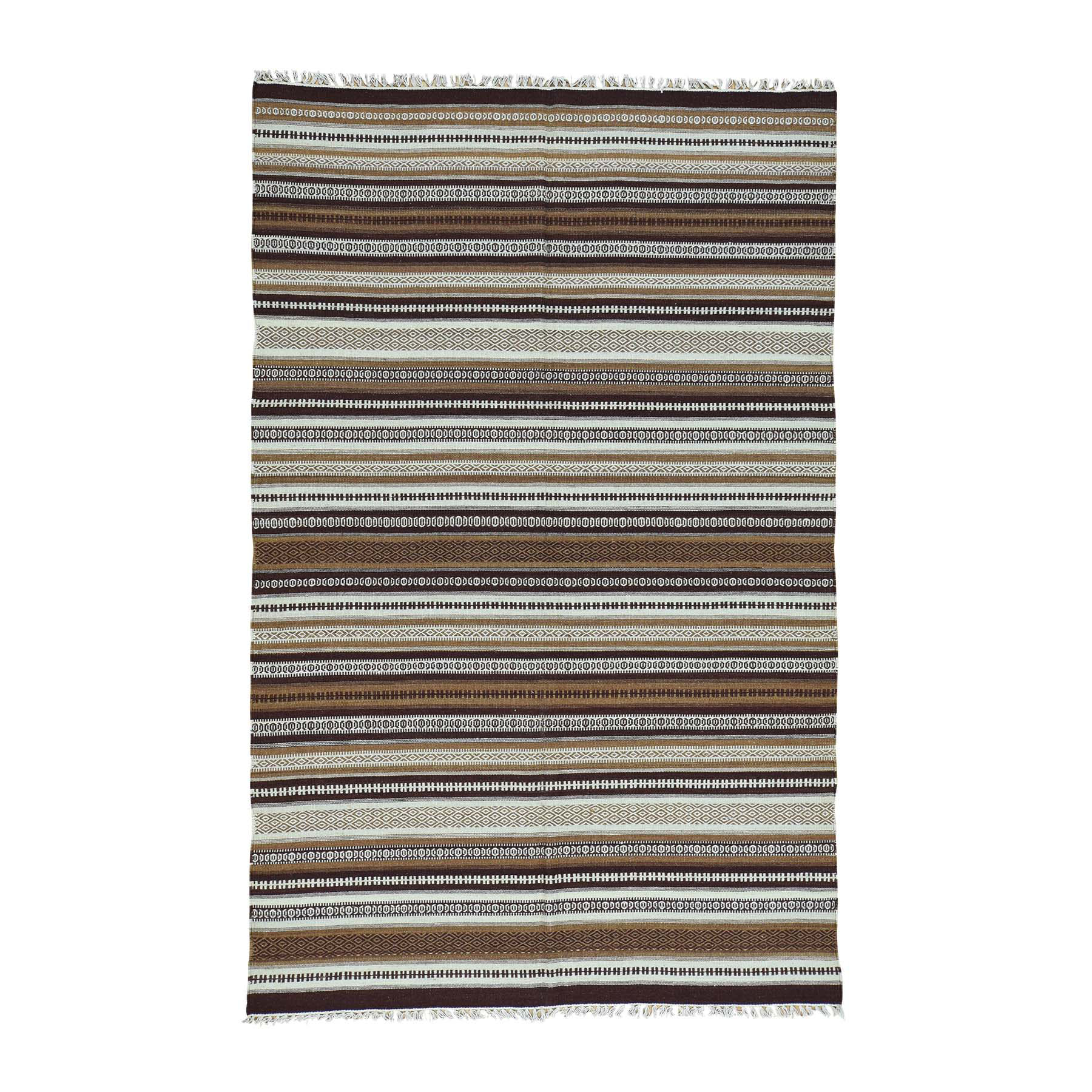 "5'8""x9'3"" Durie Kilim Pure Wool Hand-Woven Striped Oriental Rug"