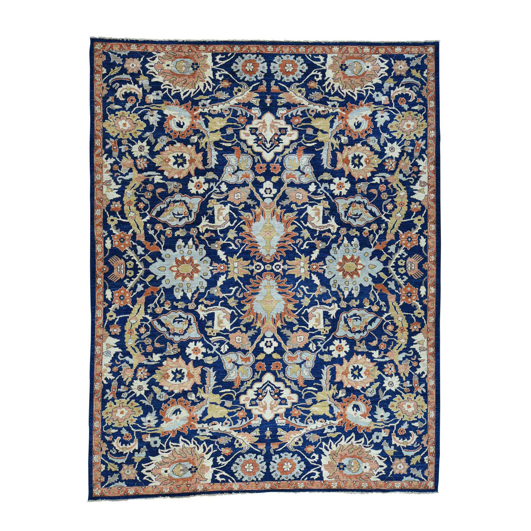 "9'x11'9"" Navy Blue Peshawar All-Over Sultanabad Design Hand Woven Rug"