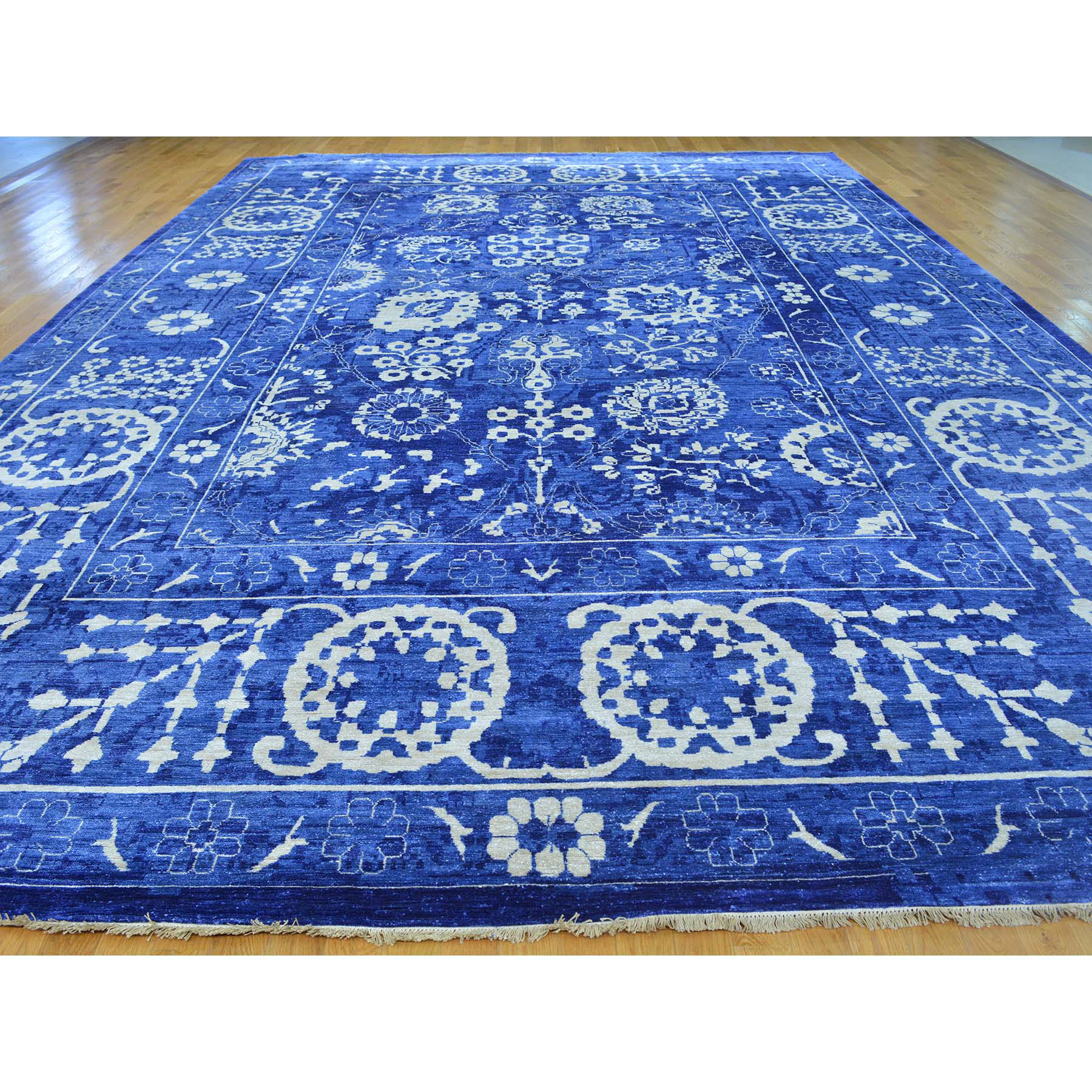 "12'3""x18'4"" Oversize Hand Woven Wool And Silk Tone on Tone Tabriz Rug"