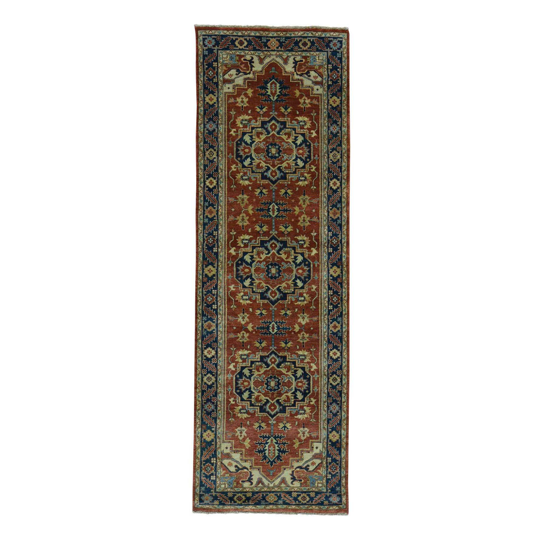 2'8''x10' Antiqued Heriz Re-creation Pure Wool Hand Woven Runner Rug