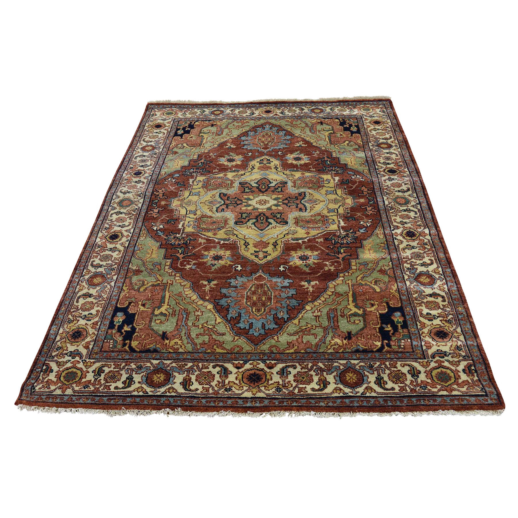 4'1''x6' Hand Woven Pure Wool Antiqued Heriz Re-creation Oriental Rug