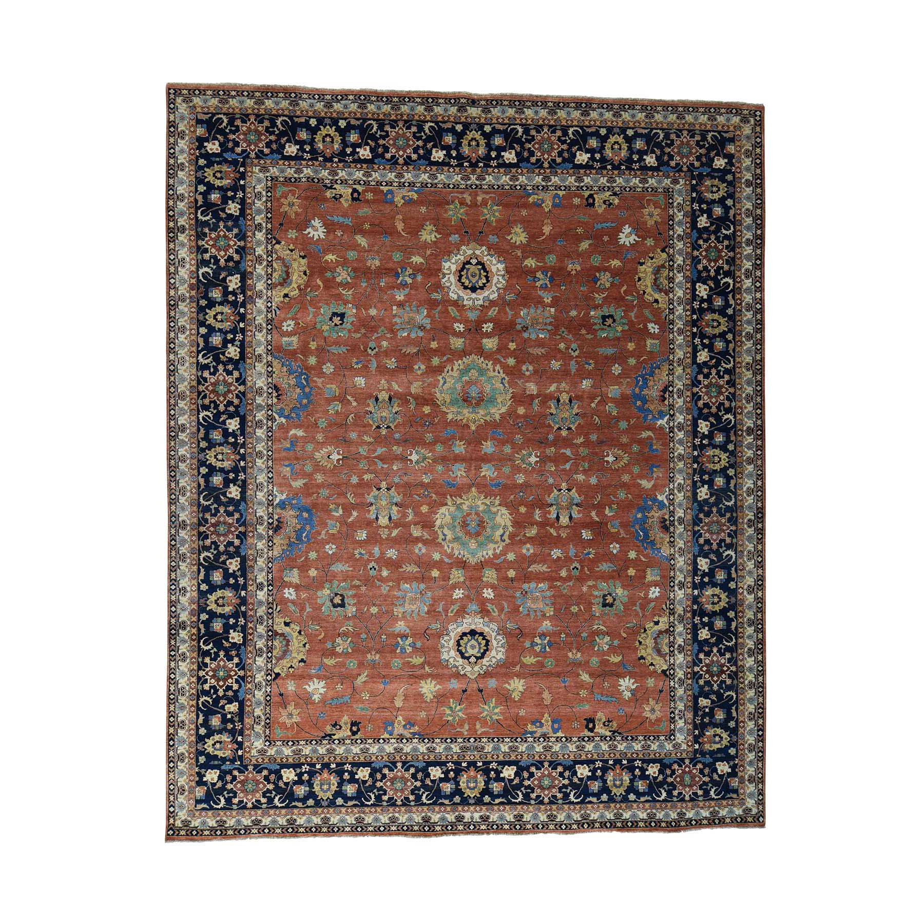 12'x14'9'' Hand Woven Antiqued Heriz Oversize All Over Design Rug