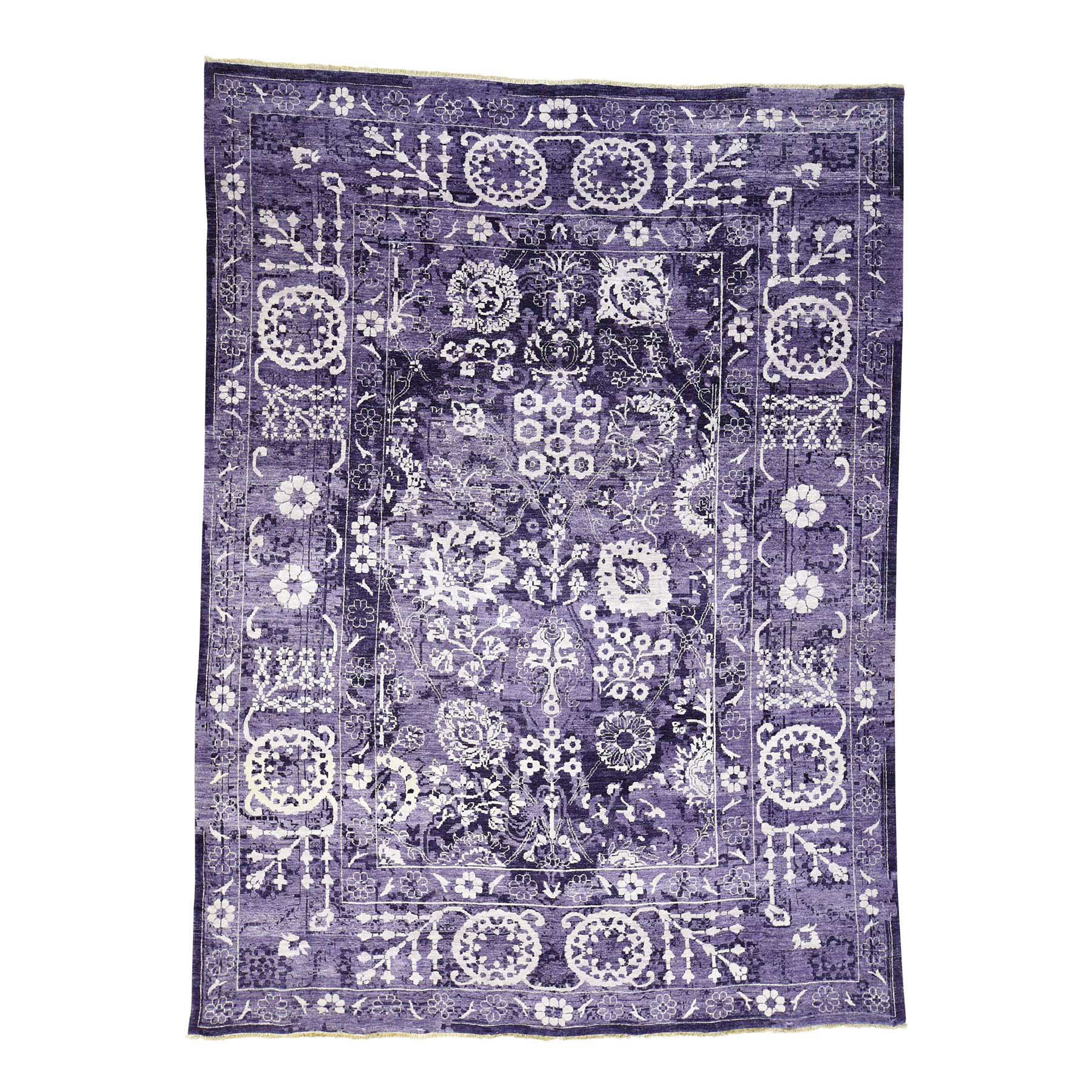 9'x12' Purple Wool And Silk Hand Woven Tone on Tone Tabriz Rug