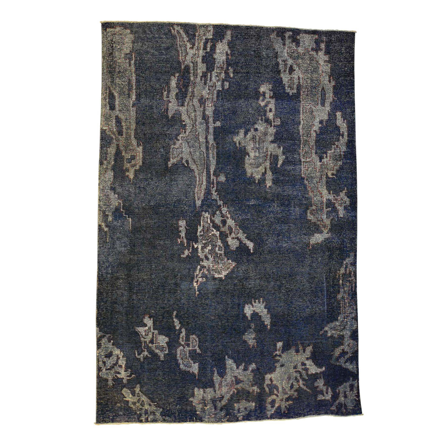 6'5''x9'5'' Hand Woven Grey Persian Overdyed Worn Oriental Rug