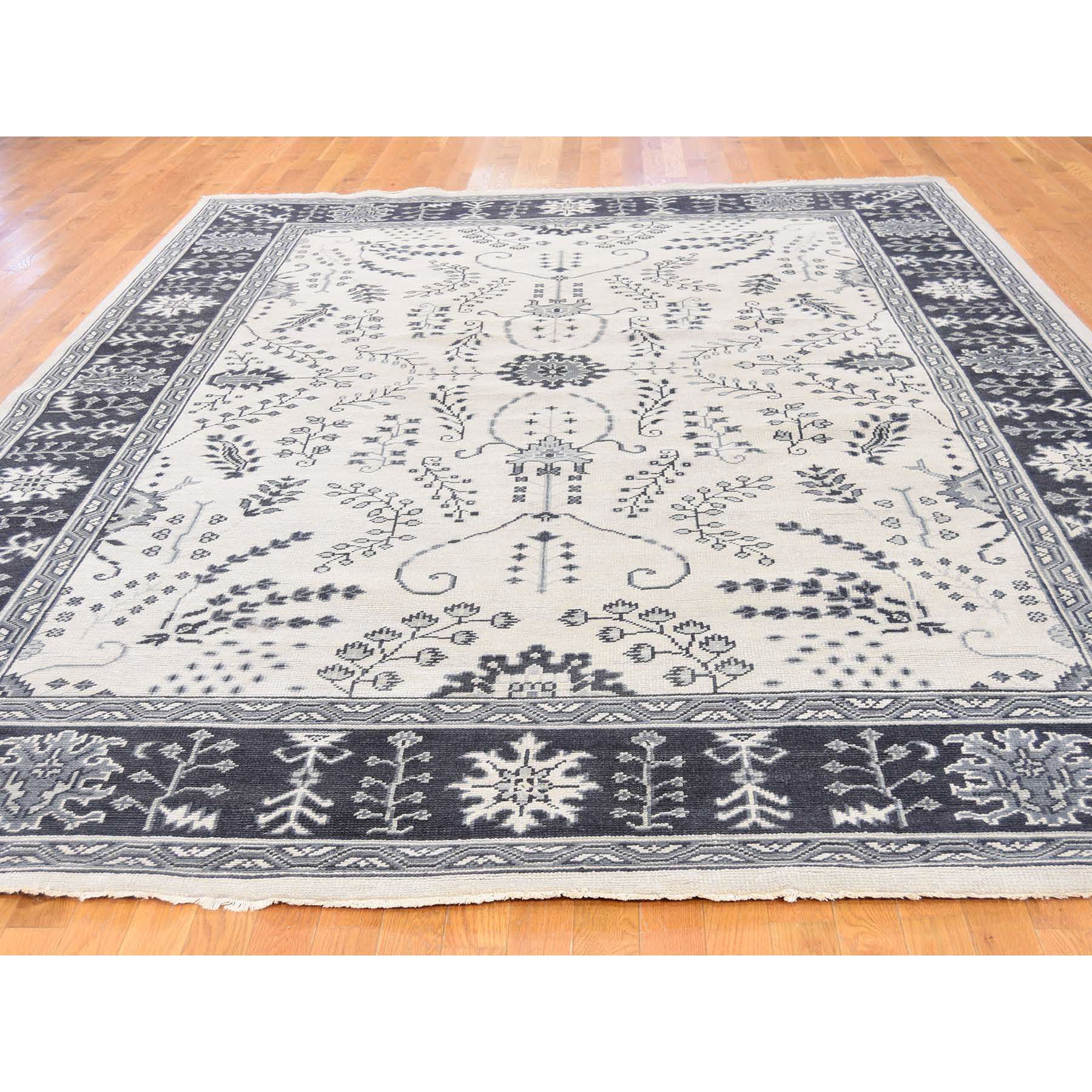 8'x10' Ivory Turkish Knot Oushak Hand Woven Pure Wool Oriental Rug