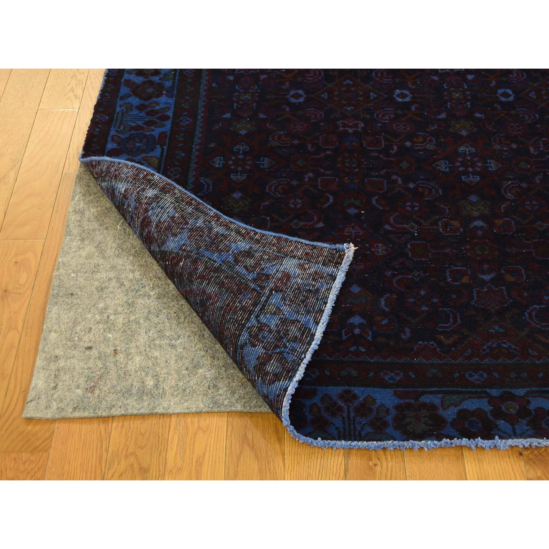 4'8''x9'6'' Overdyed Persian Birjand Hand Woven Wide Runner Rug