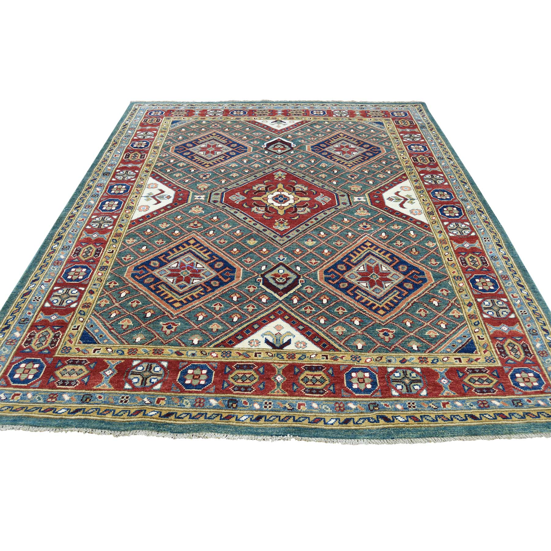 5'x6'6'' Hand Woven Pure Wool Special Kazak Tribal Design Oriental Rug