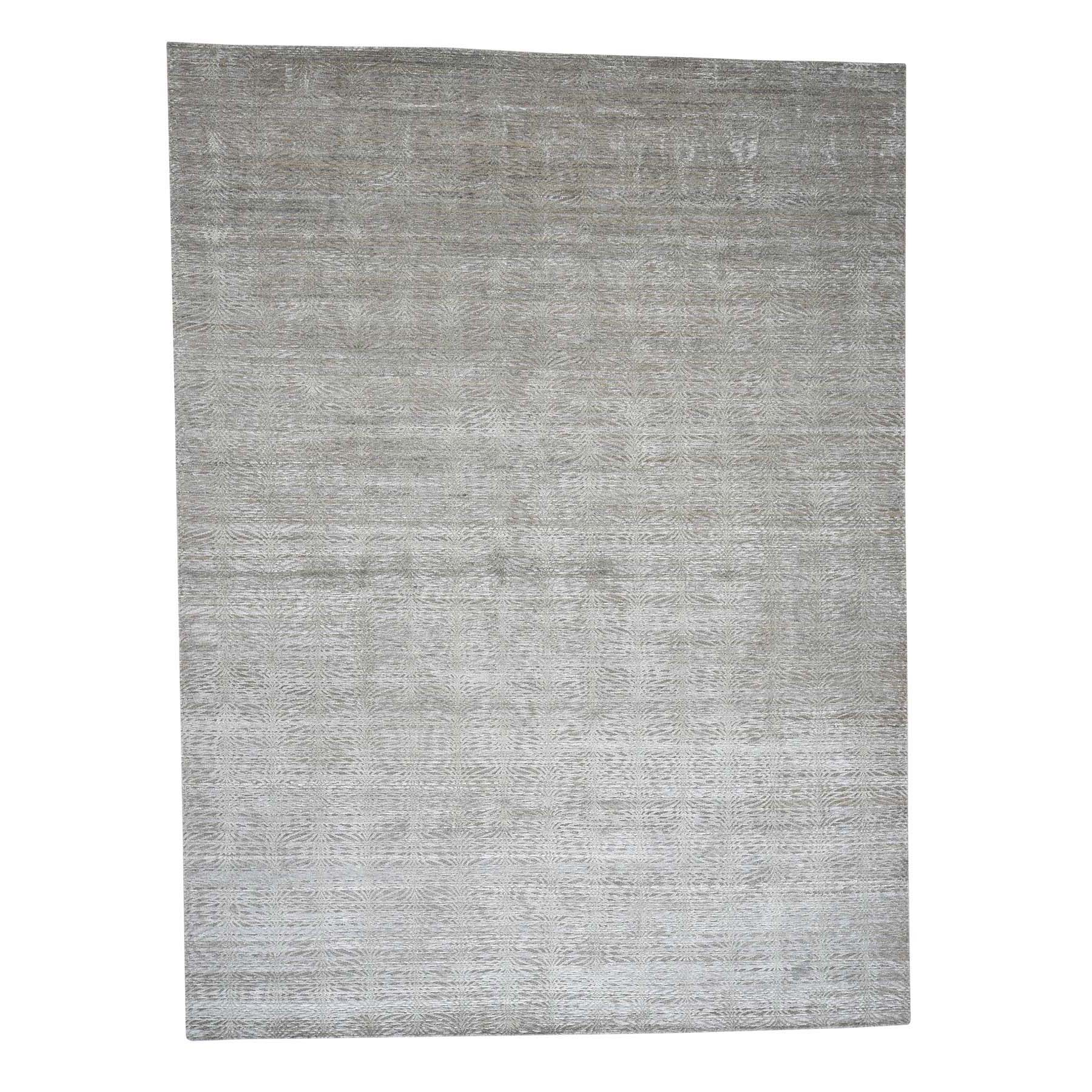 9'x12' Real Silk with Textured Wool Tone on Tone Hand Woven Oriental Rug