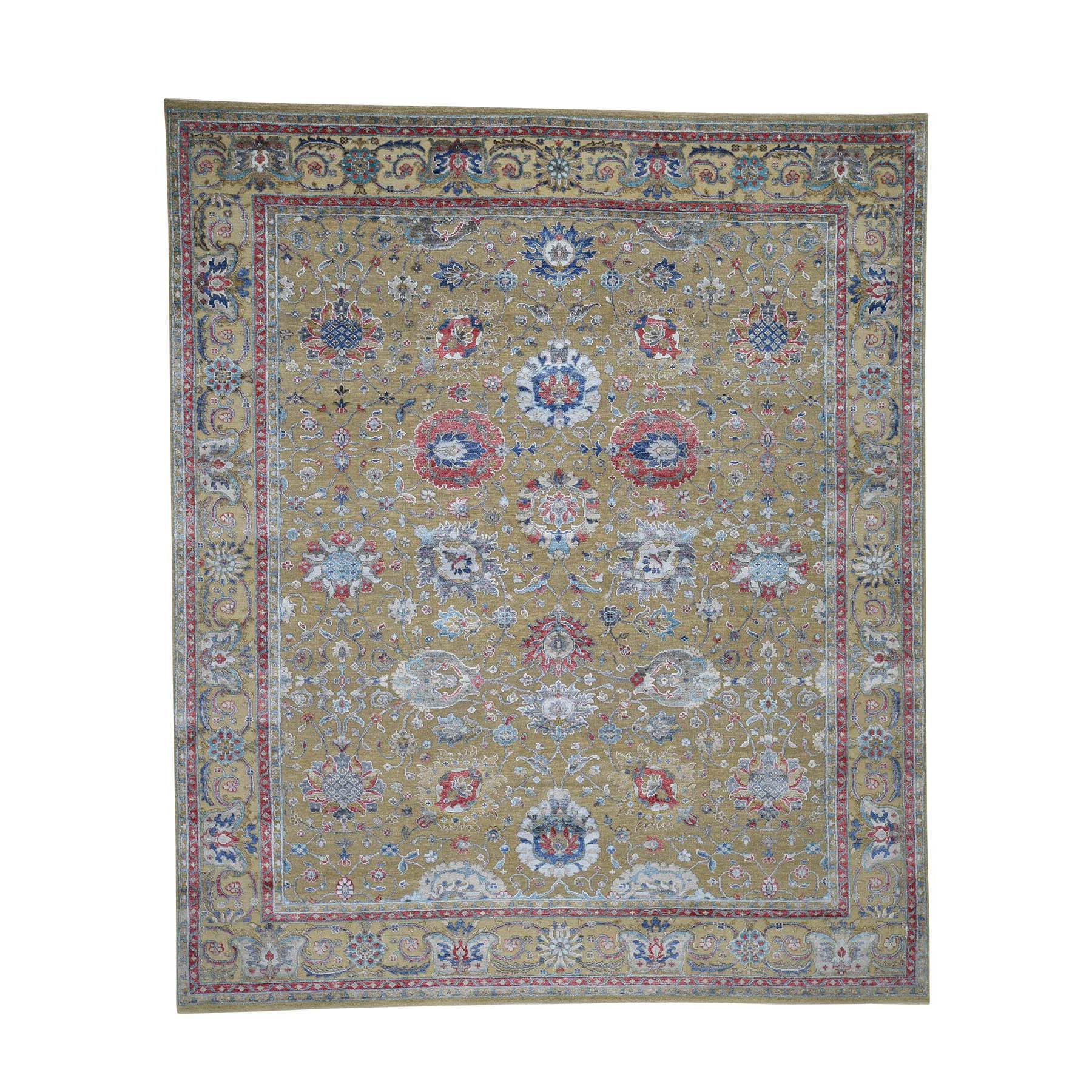 "8'1""x9'7"" Textured Silk With Textured Wool Mahal Design Hand Woven Oriental Rug"