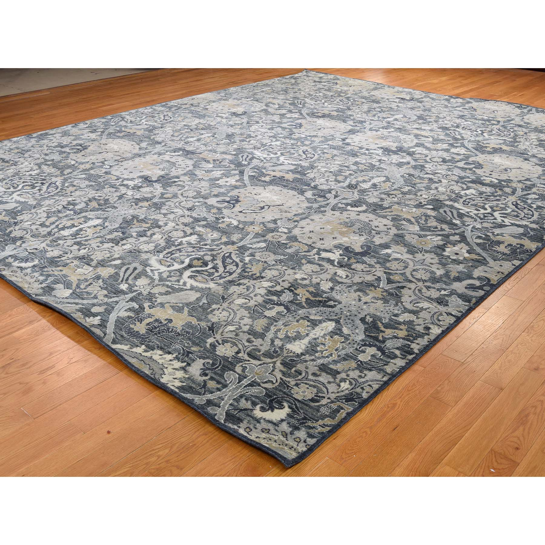 "12'2""x15'3"" Silk With Textured Wool Hunting Design Oversize Hand Woven Oriental Rug"