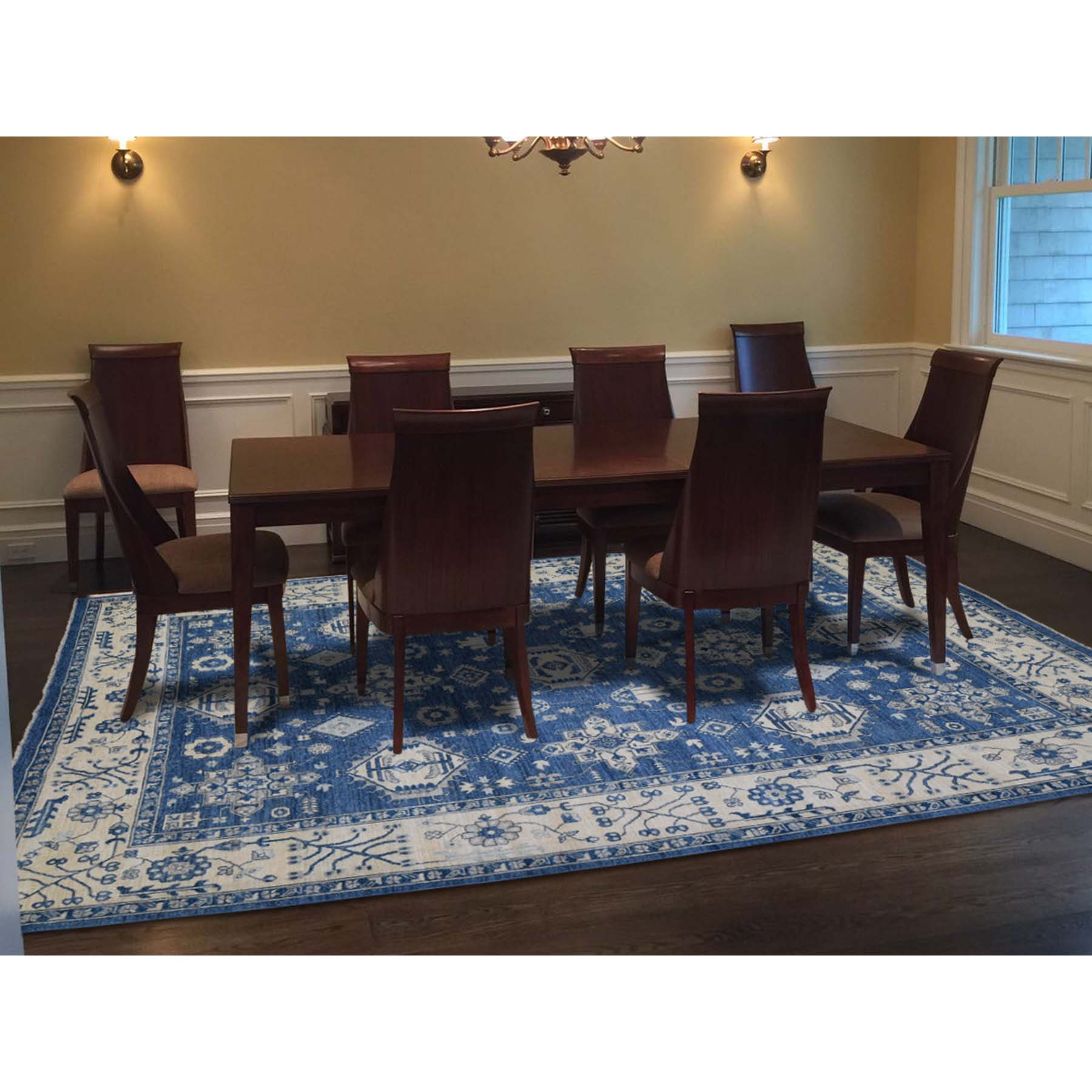 "9'x11'6"" Peshawar With Karajeh Design Pure Wool Blue Hand Woven Oriental Rug"