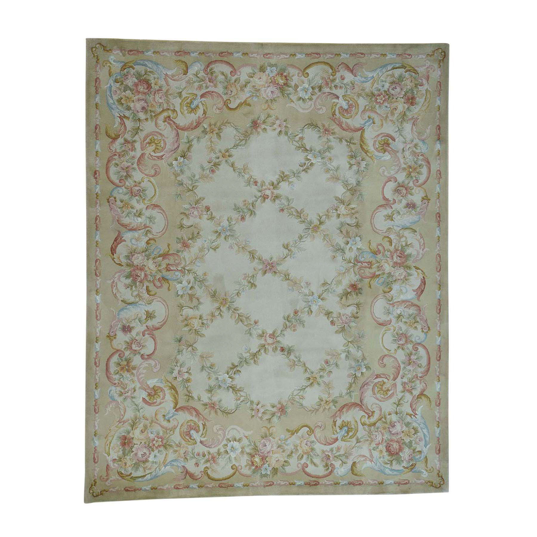 8'x10' Savonnerie Floral Trellis Design Thick And Plush Hand Woven Oriental Rug
