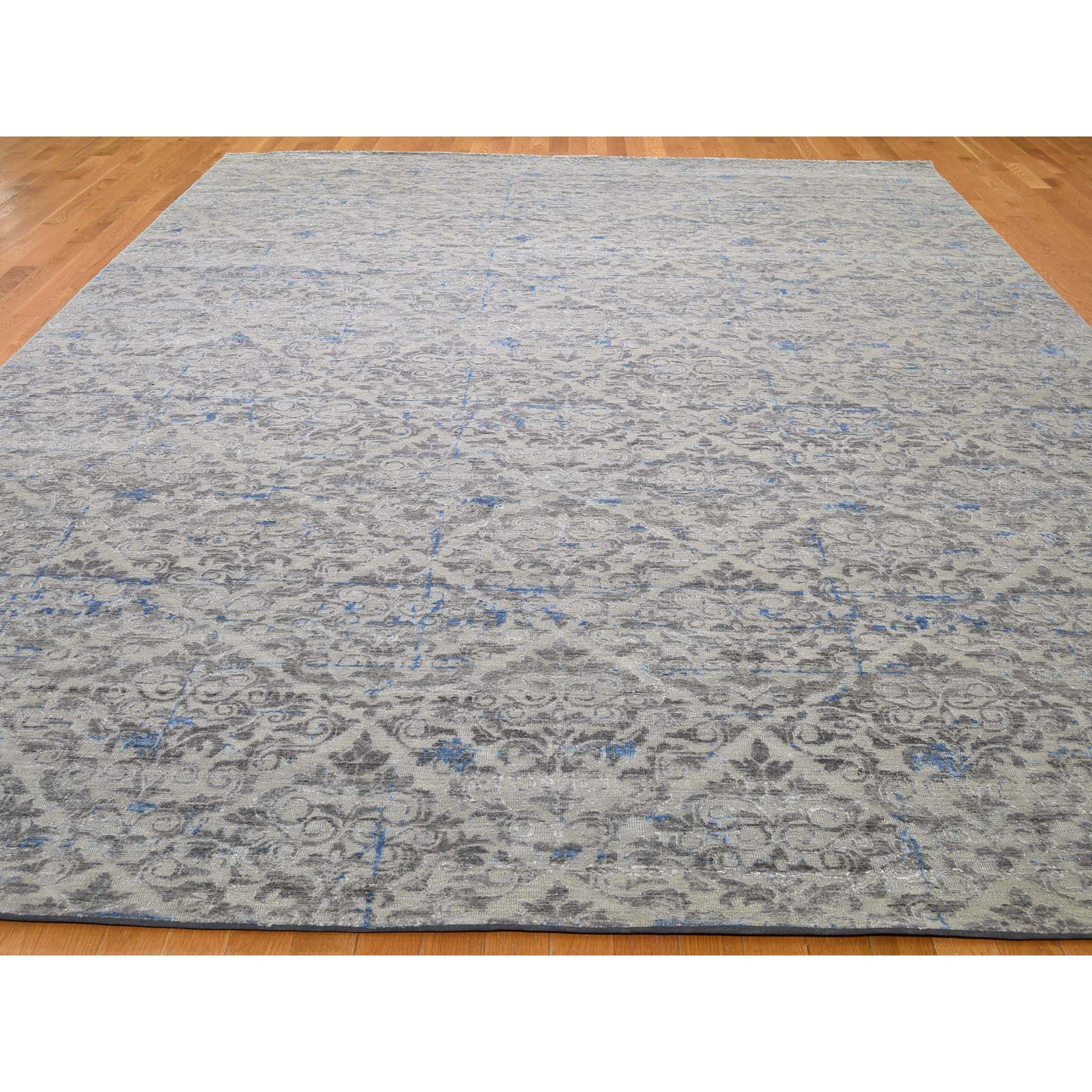 "9'8""x13'6"" Pure Silk With Textured Wool Trellis Garden Design Hand Woven Oriental Rug"