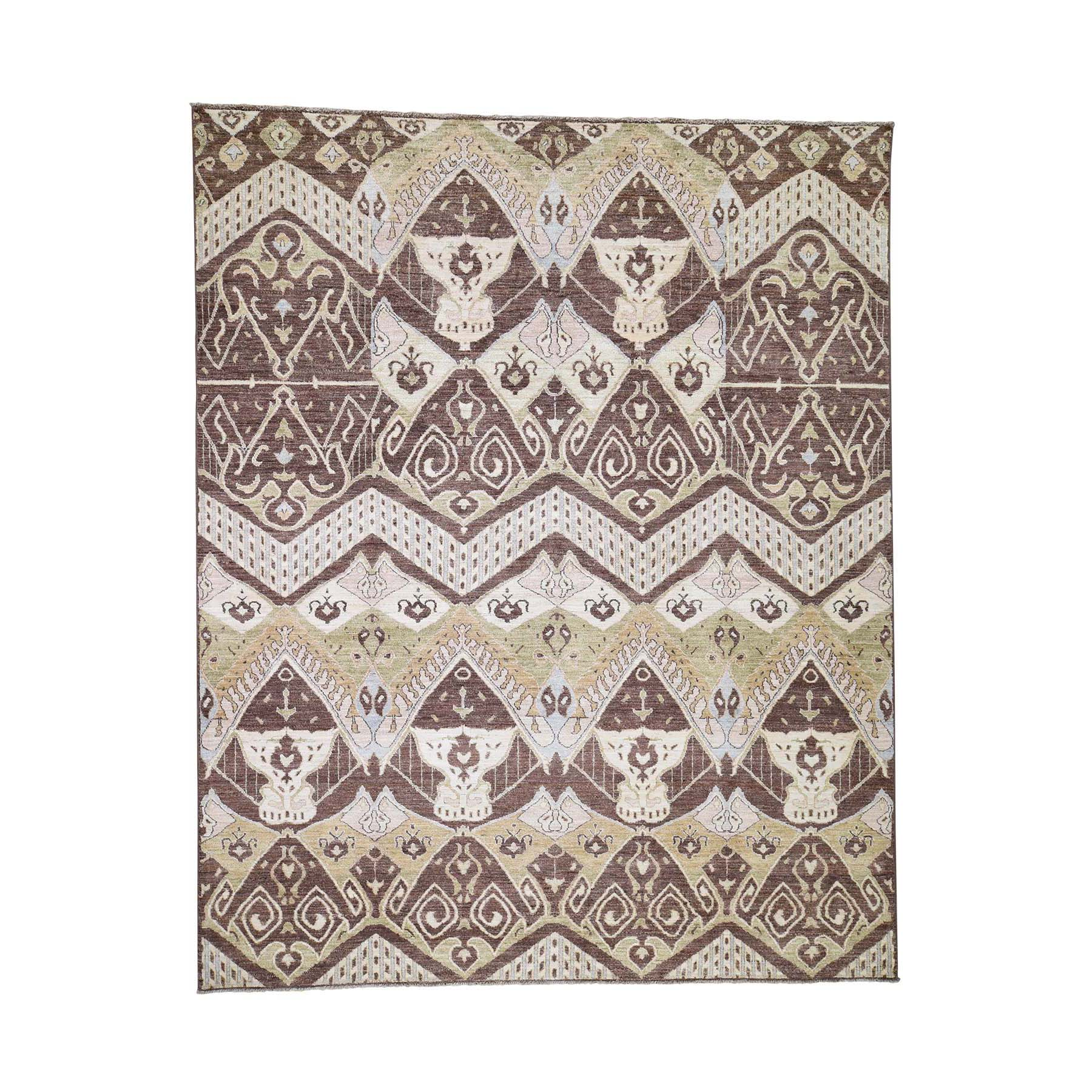 "8'1""x10' kat Tribal and Geometric Design Pure wool Hand Woven Oriental Rug"