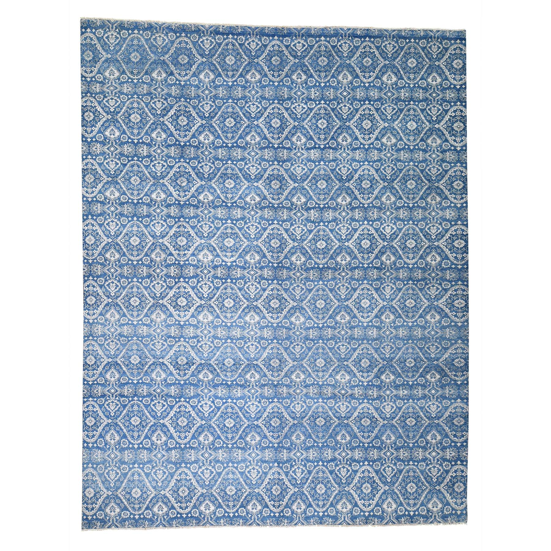 10'x13' Ikat Dense Weave Wool and Silk Tone on Tone Hand Woven Oriental Rug