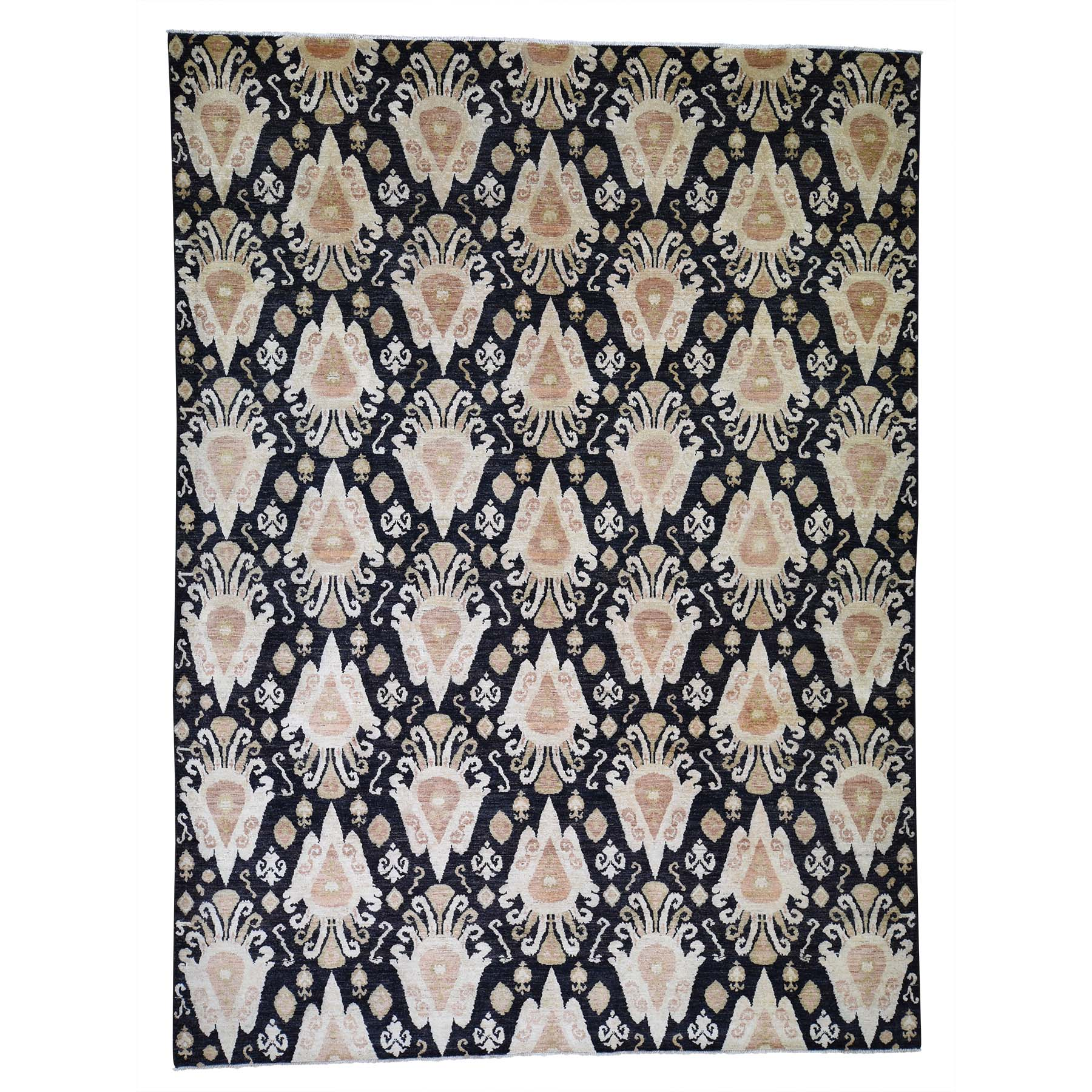 "9'2""x12'4"" Black Ikat Pure Wool Hand Woven Oriental Rug"