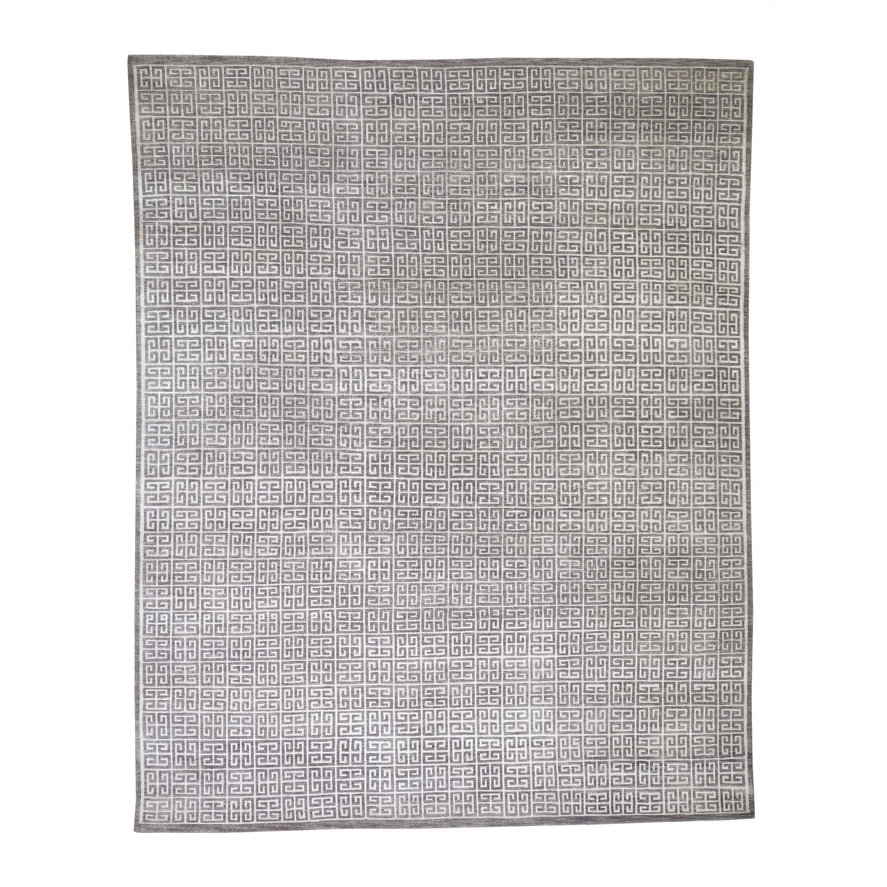 8'x10' Modern Wool And Silk Hand Woven Oriental Rug