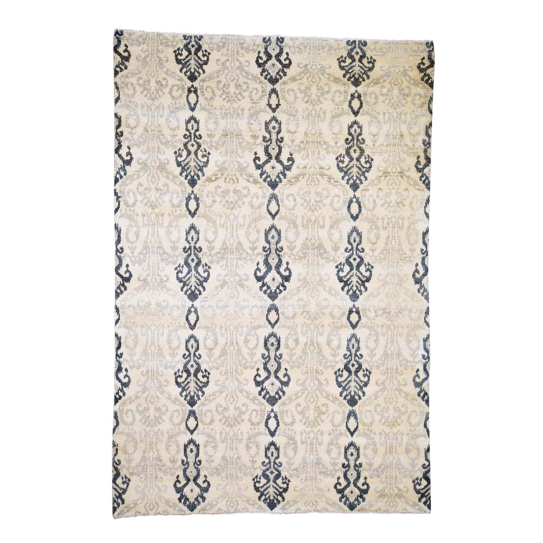 "5'10""x8'7"" Ikat Design Pure Wool Hand Woven Oriental Rug"