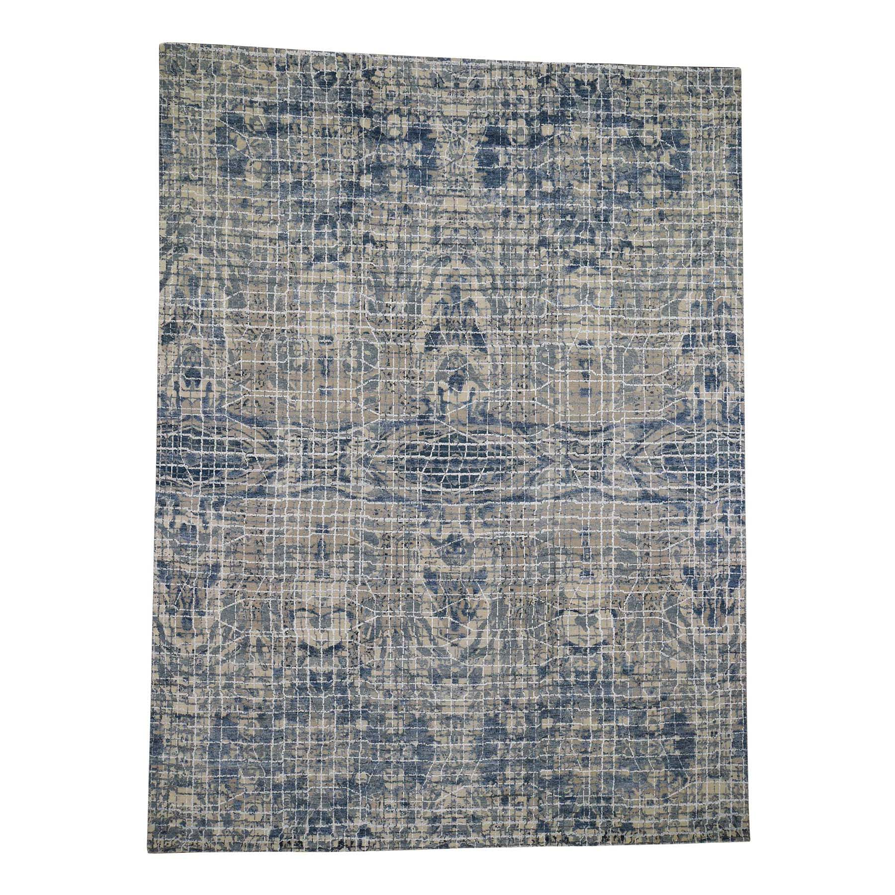 "9'1""x12'2"" THE GRAPH DESIGN Silk With Textured Wool Hand Woven Oriental Rug"