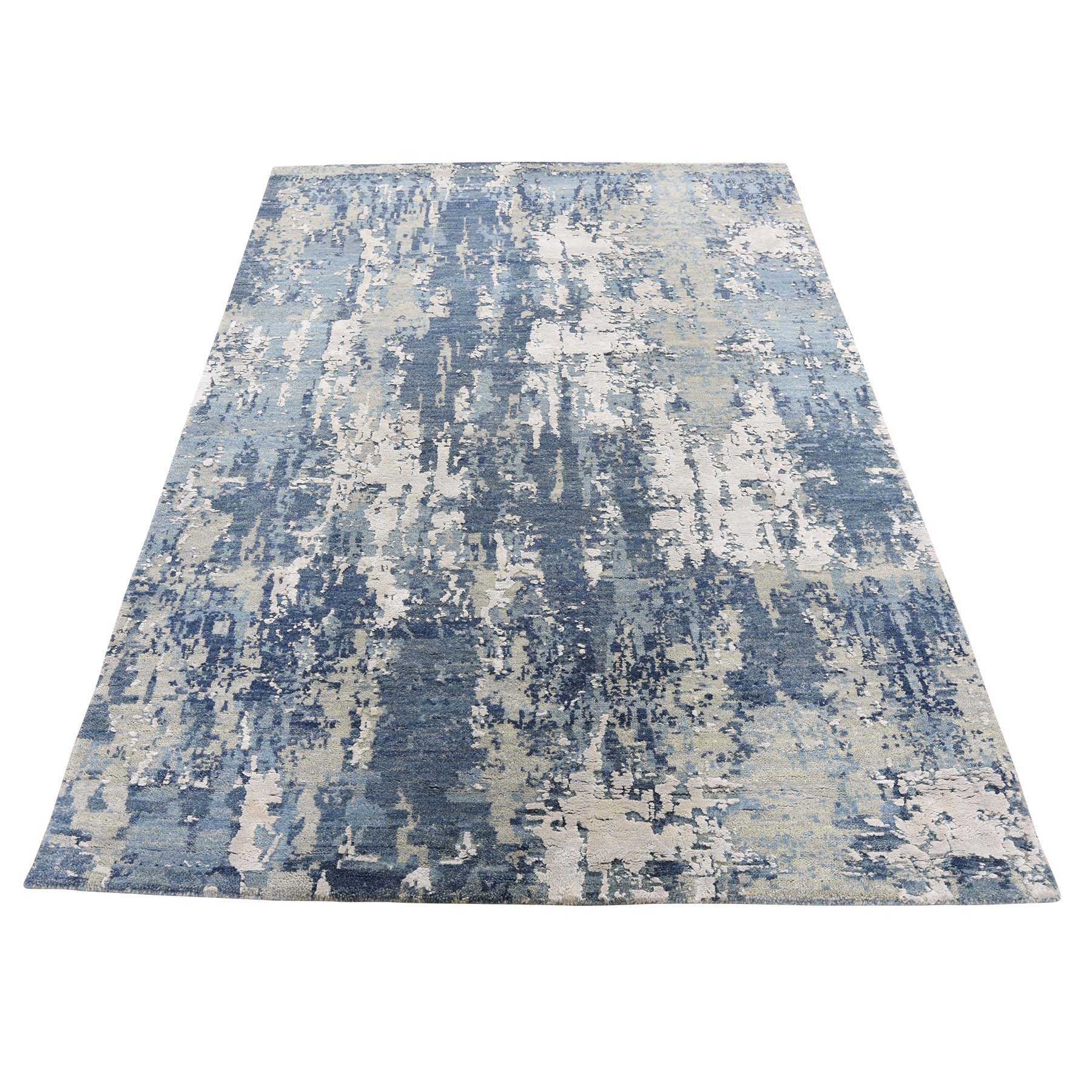 Picture of: 4 X6 1 Blue Gray Abstract Design Wool And Pure Silk Hand Woven Oriental Rug