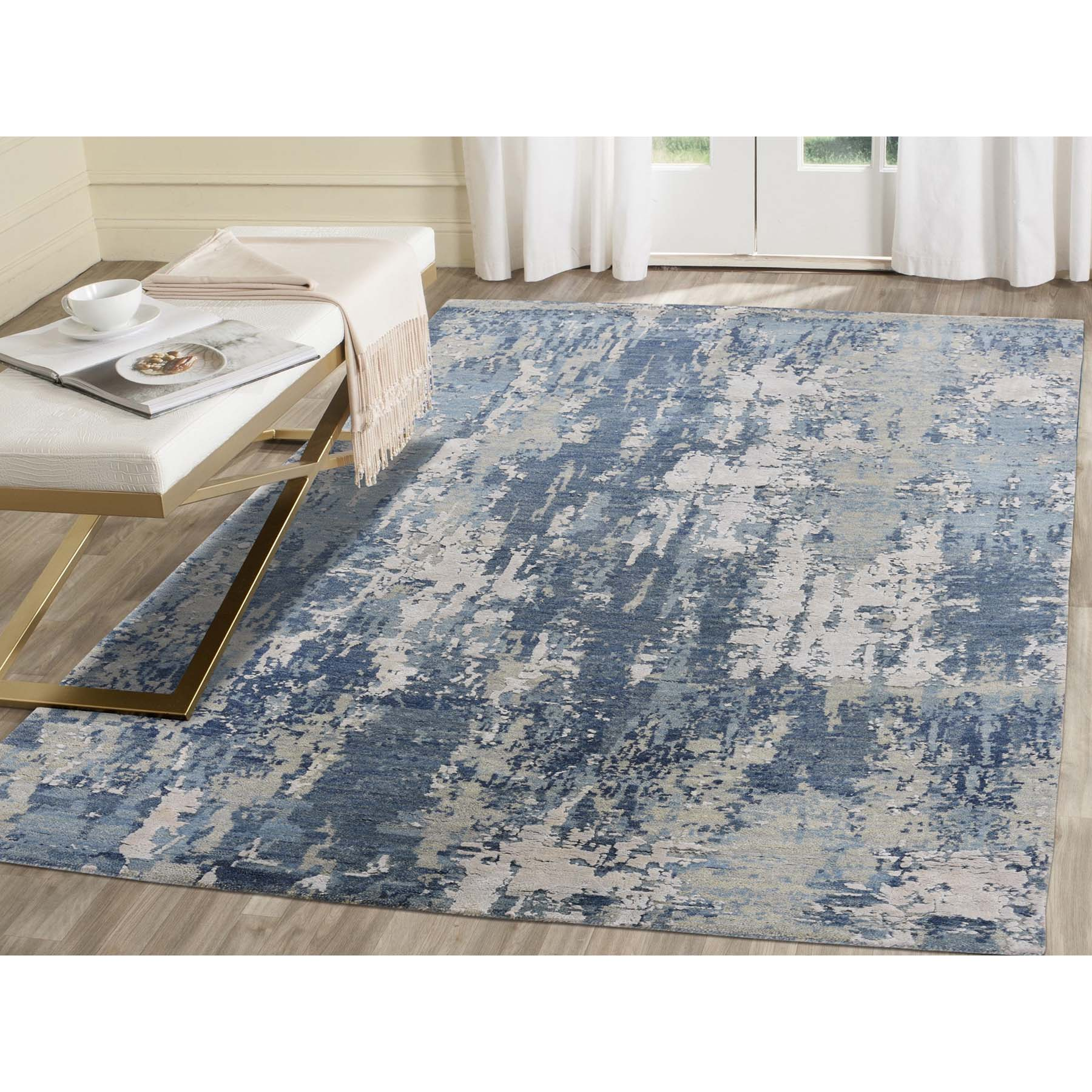 4 X6 1 Blue Gray Abstract Design Wool And Pure Silk Hand Woven Oriental Rug