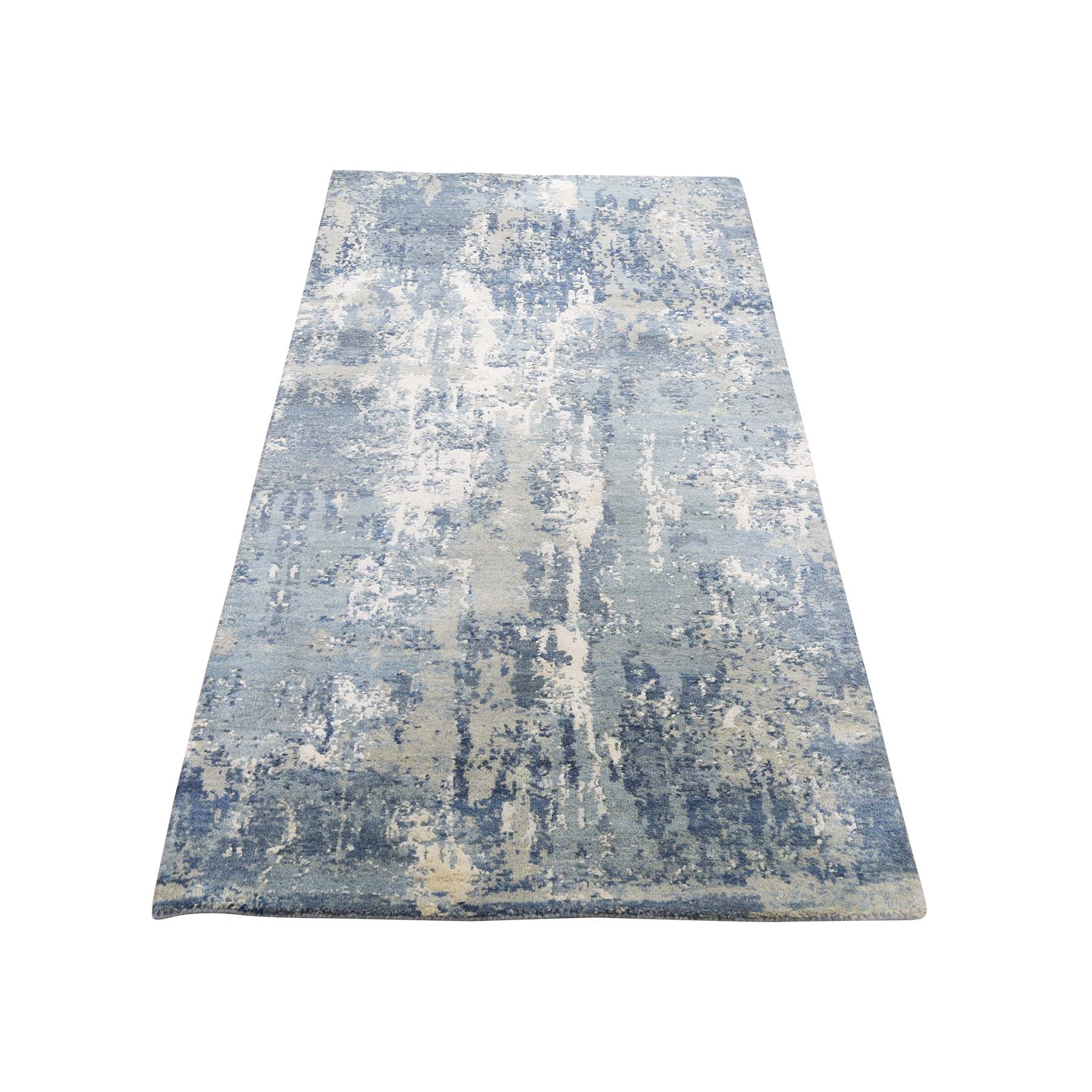 Picture of: 2 7 X6 1 Blue Gray Abstract Design Wool And Pure Silk Hand Woven Oriental Runner Rug