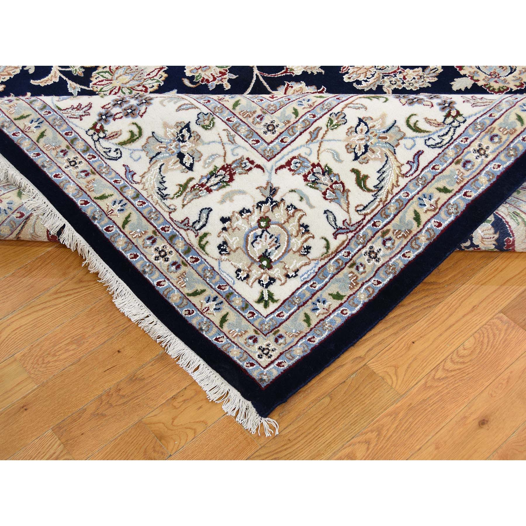 "9'8""x14'1"" Wool and Silk 250 KPSI Navy Blue Nain Hand Woven Oriental Rug"