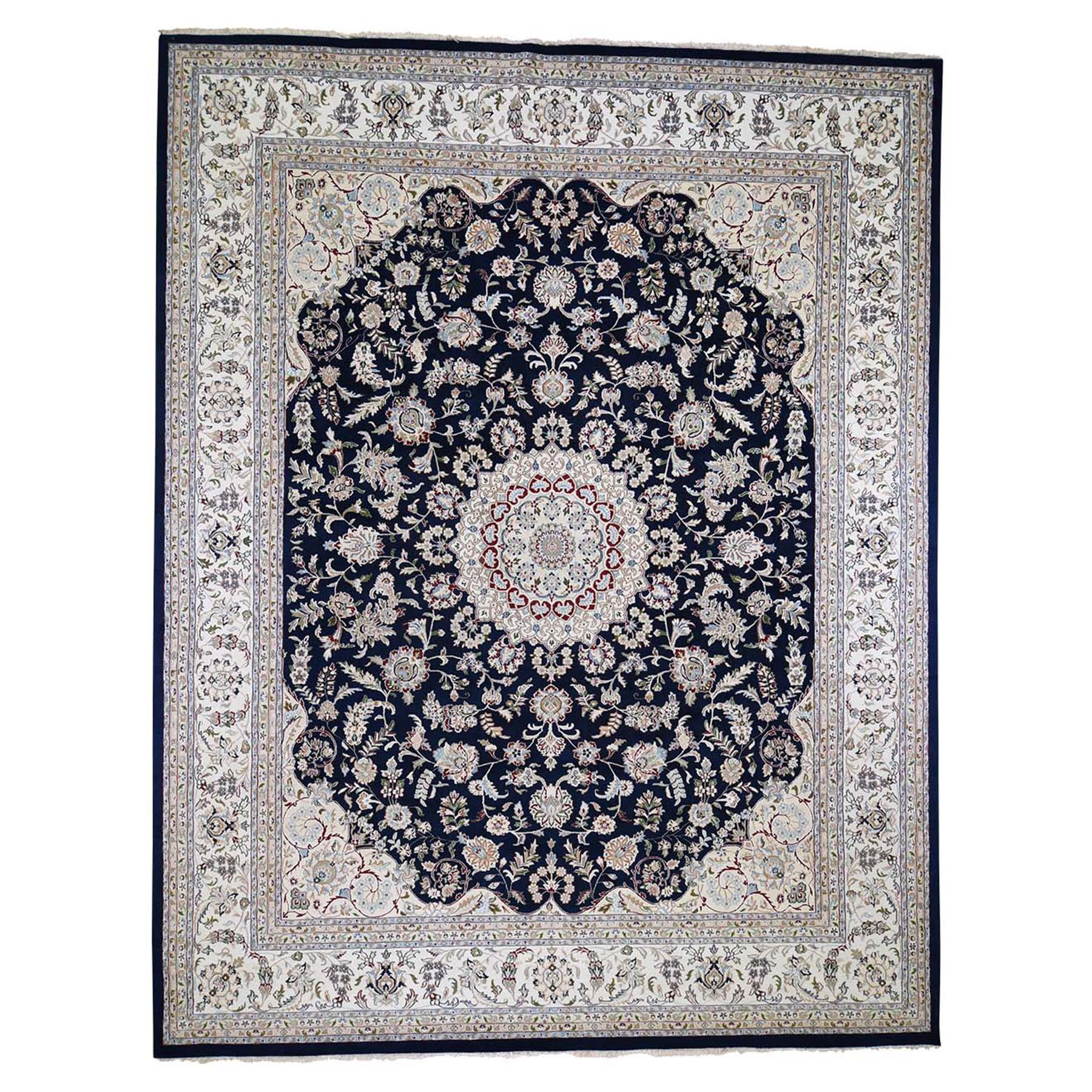 "11'10""x15'1"" Oversized Wool and Silk 250 KPSI Navy Blue Nain Hand Woven Oriental Rug"