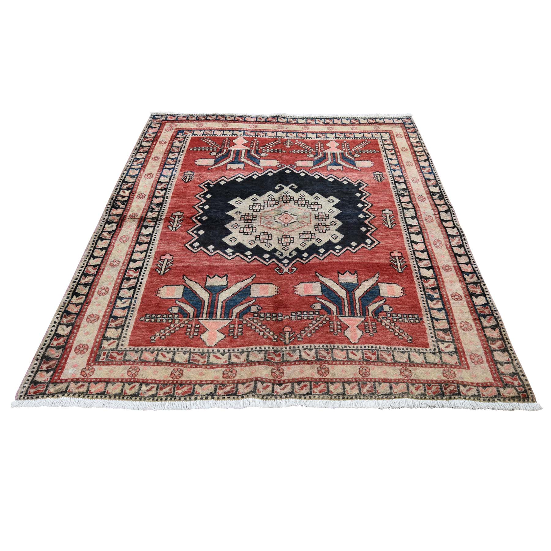 "4'8""x6'3"" Red Vintage North West Persian Exc Condition Pure wool Hand-knotted Oriental Rug"