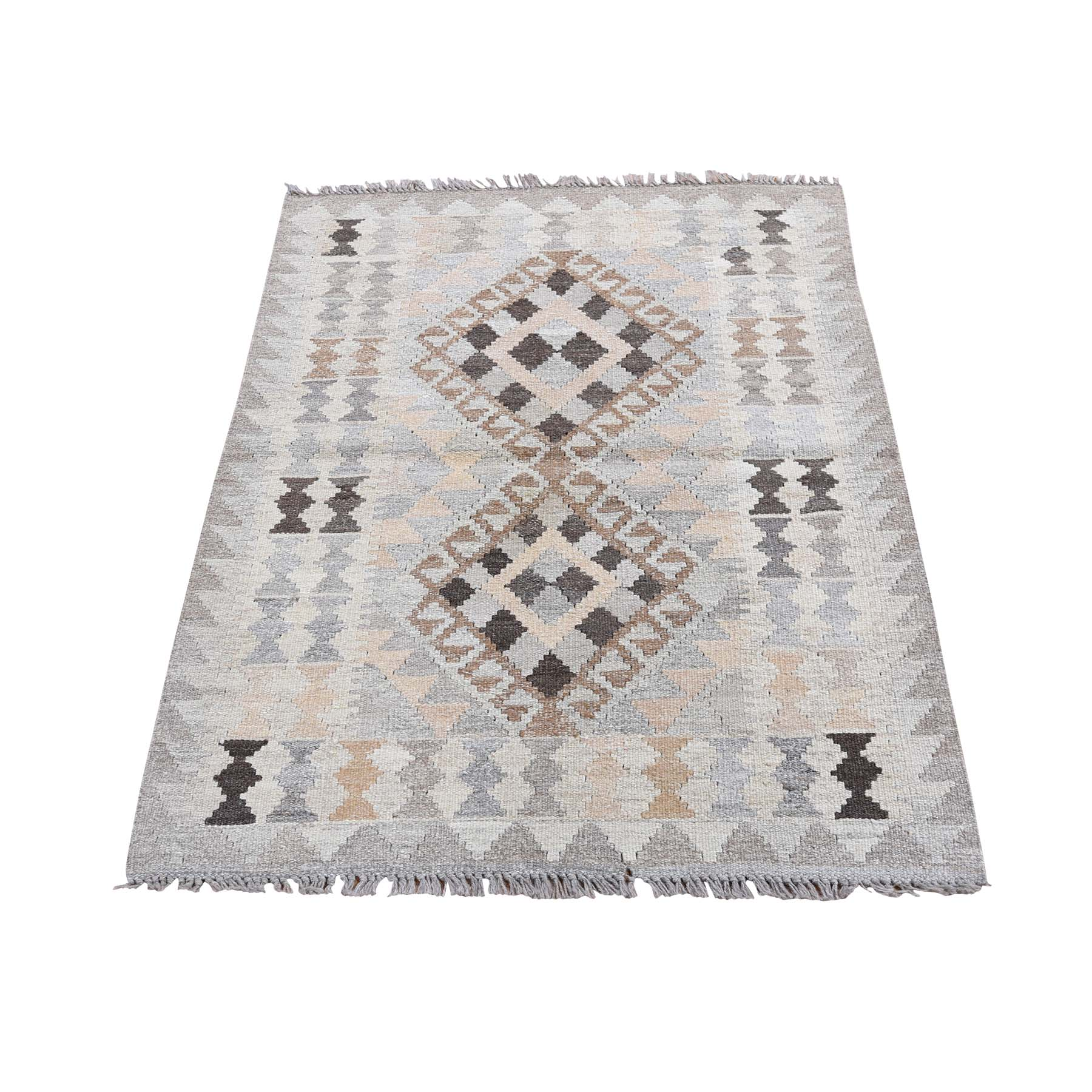 "2'9""x3'10"" Undyed Natural Wool Afghan Kilim Reversible Hand Woven Oriental Rug"