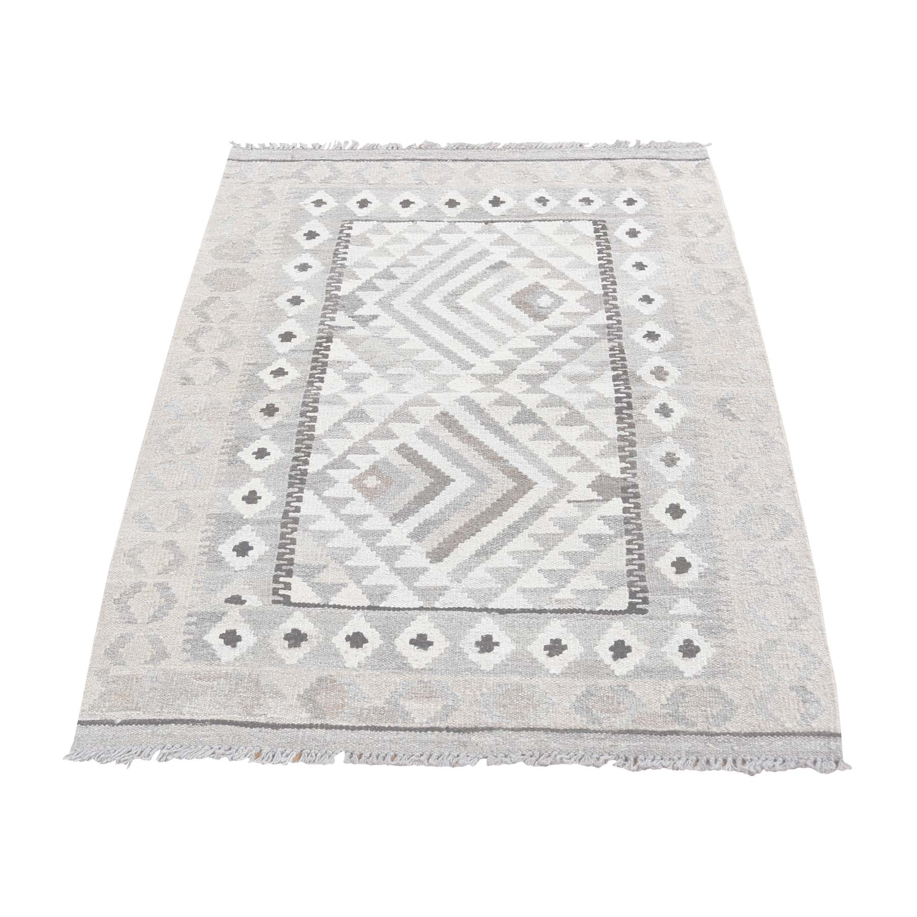 "2'8""x4' Undyed Natural Wool Afghan Kilim Reversible Hand Woven Oriental Rug"