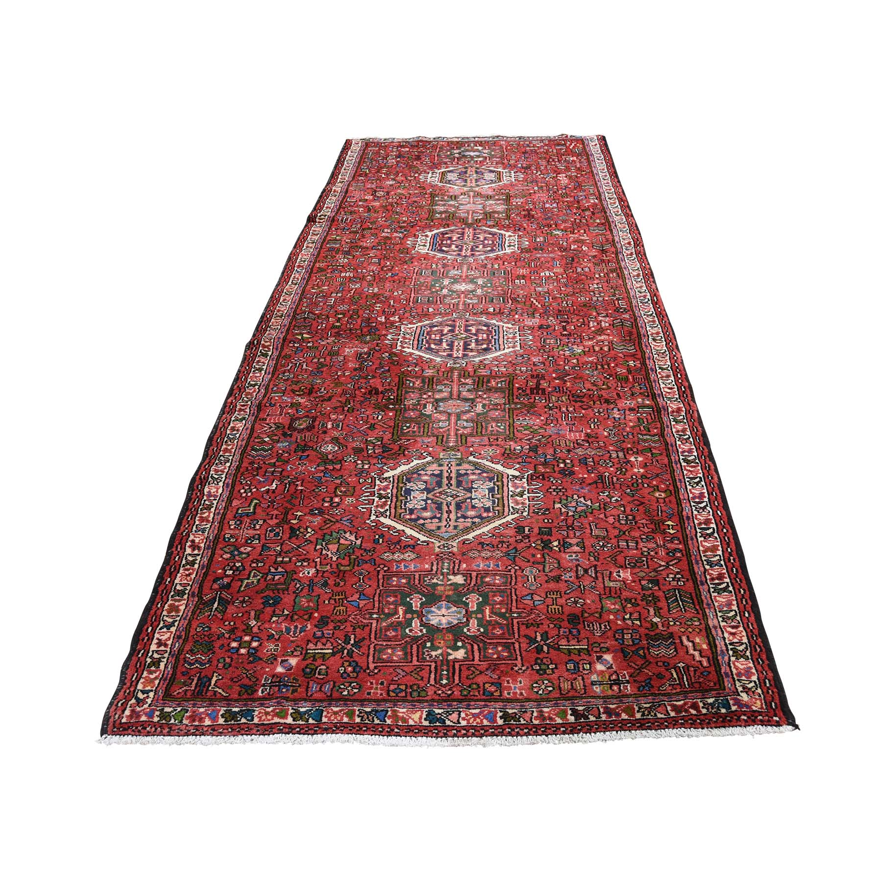 "3'9""x11' Red Semi Antique Karajeh Pure Wool Wide Runner Hand Woven Oriental Rug"