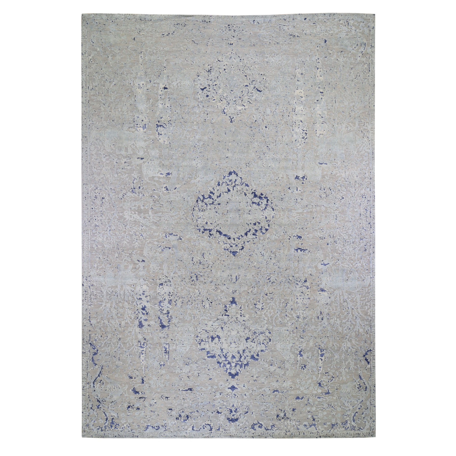 "11'10""x14'10"" Oversized Diminishing Cypress Tree With Medallion Design Silk With Wool Textured Hand Woven Oriental Rug"