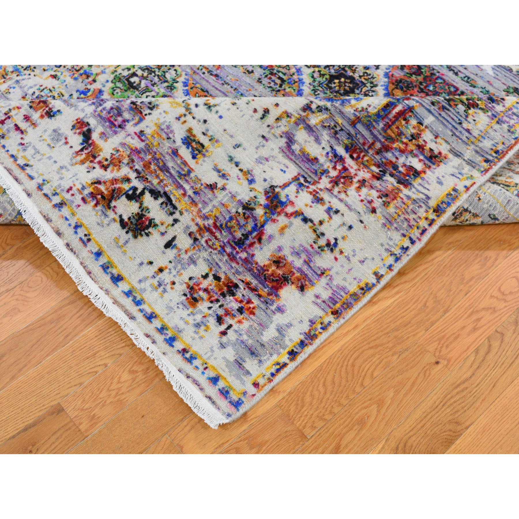 "6'x9'1"" ERASED ROSSETS, Colorful Sari Silk With Textured Wool Hand Woven Oriental Rug"
