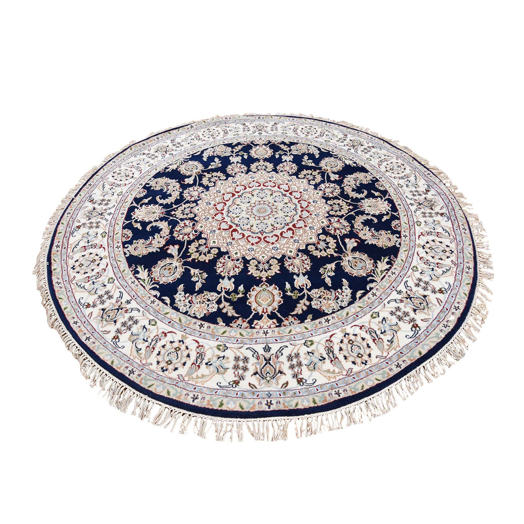 "6'10""x6'10"" Hand Woven 250 Kpsi Wool And Silk Navy Blue Nain Round Oriental Rug"