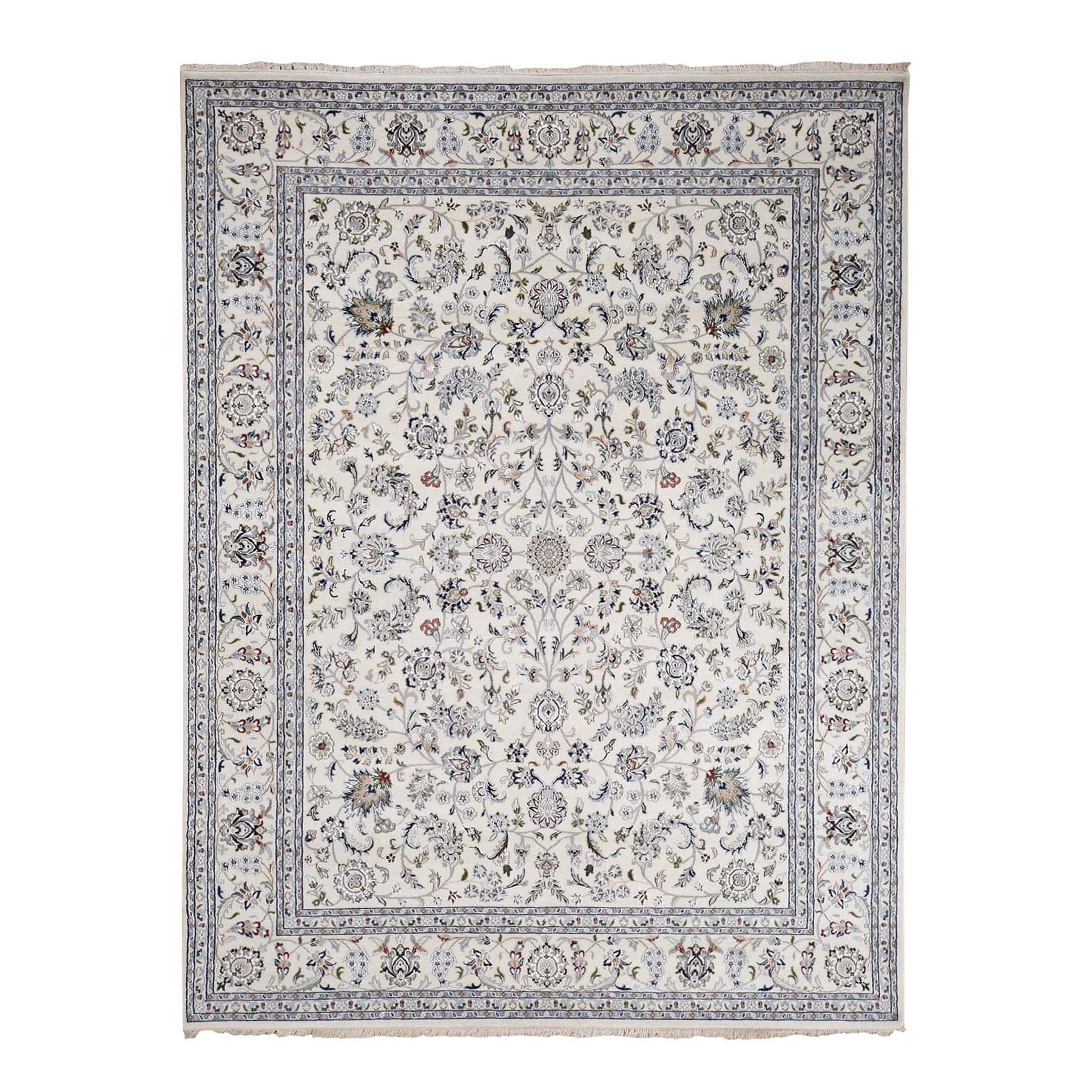 "8'10""x11'10"" Ivory Nain Wool And Silk All Over Design 250 KPSI Hand Woven Oriental Rug"