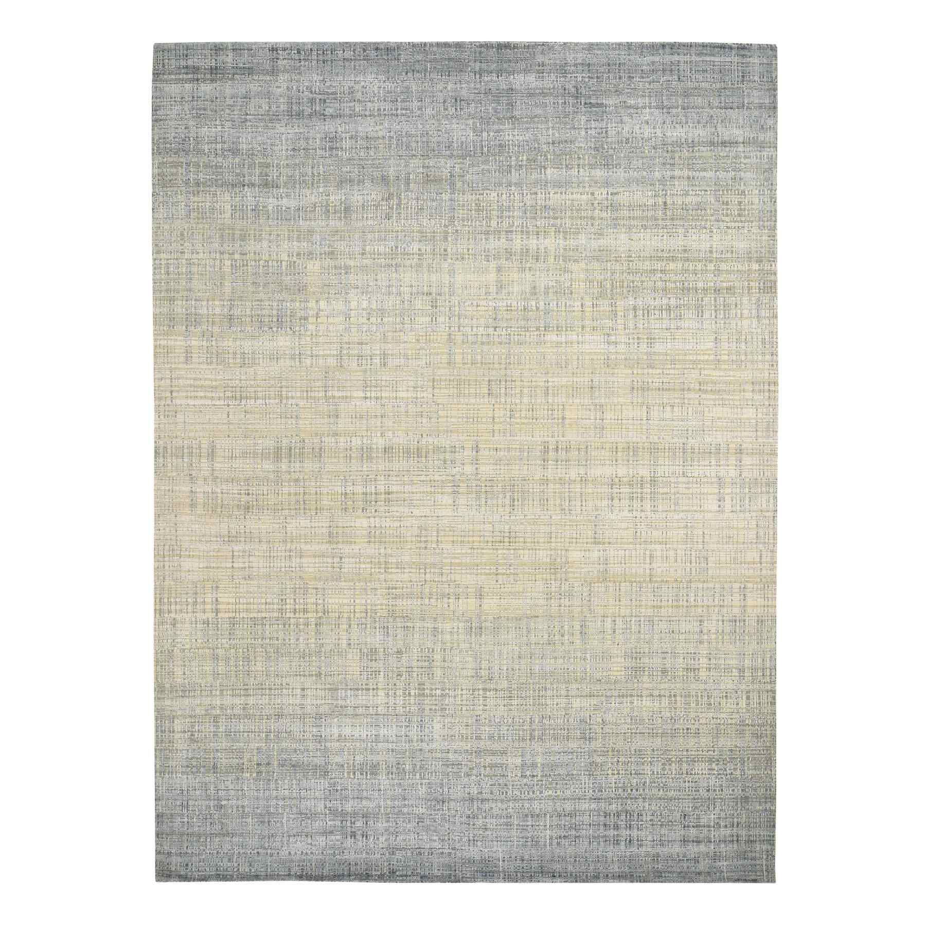 "8'10""x12'4"" Silk With Textured Wool Ombre Design Hand Woven Oriental Rug"
