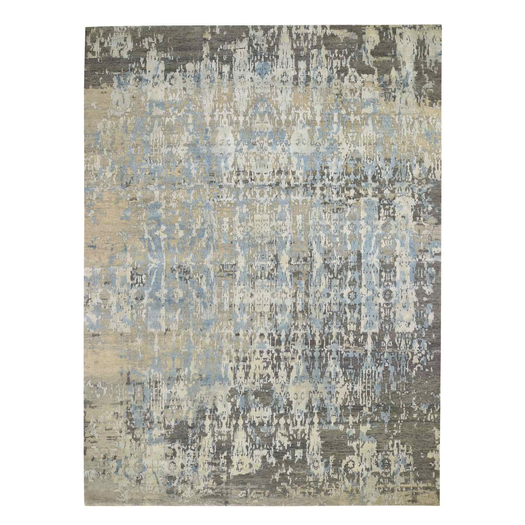 "9'x11'9"" Blue Abstract Design Wool And Pure Silk Denser Weave Hand Woven Modern Rug"