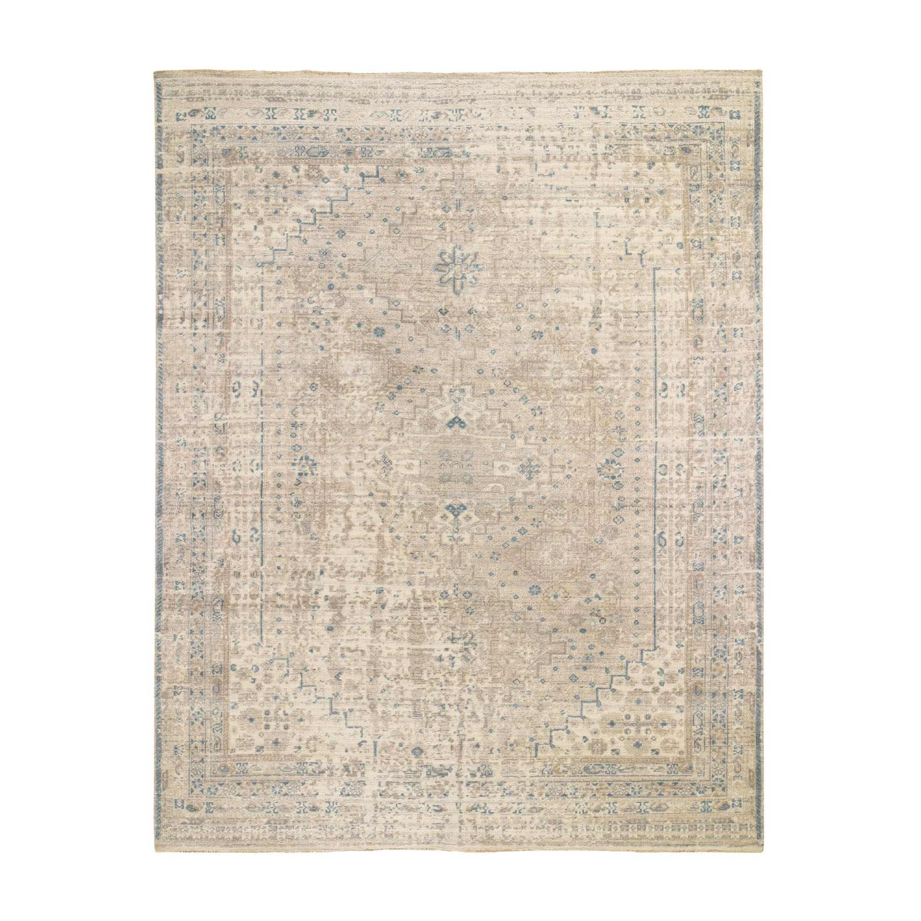 "8'2""x10'1"" Beige Erased And Distressed Shiraz Pure Wool Hand Woven Oriental Rug"
