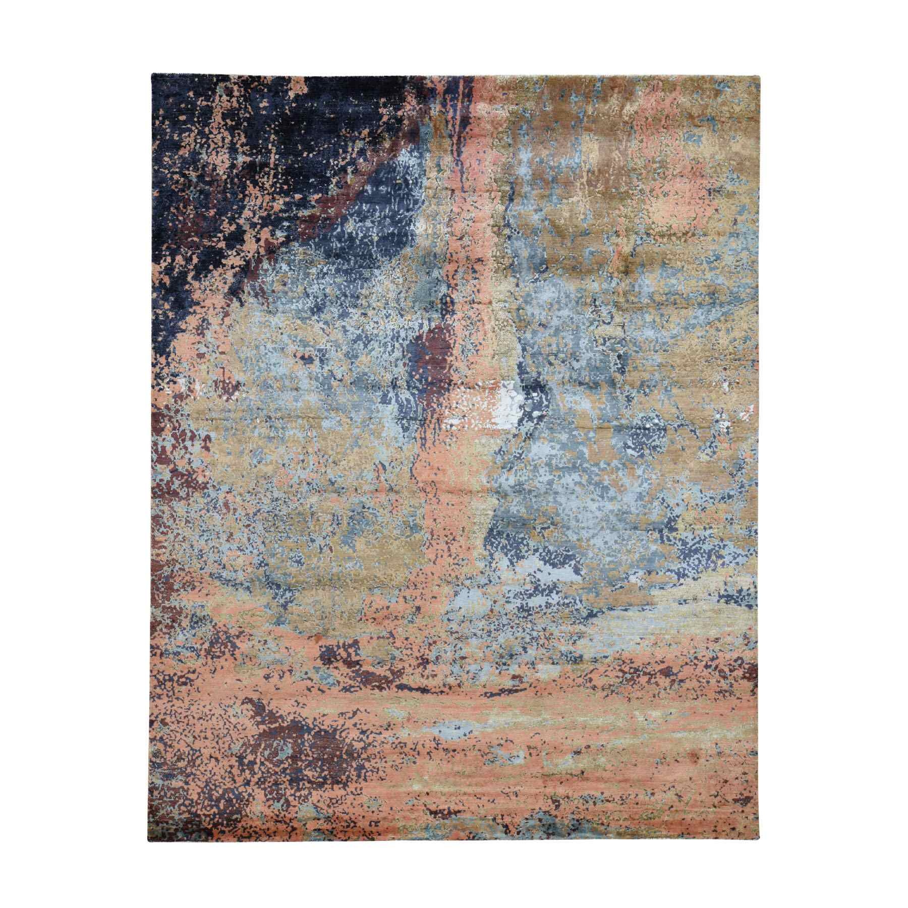 "8'1""x9'7"" Terracotta Abstract Design Wool And Silk Hand Woven Modern Rug"