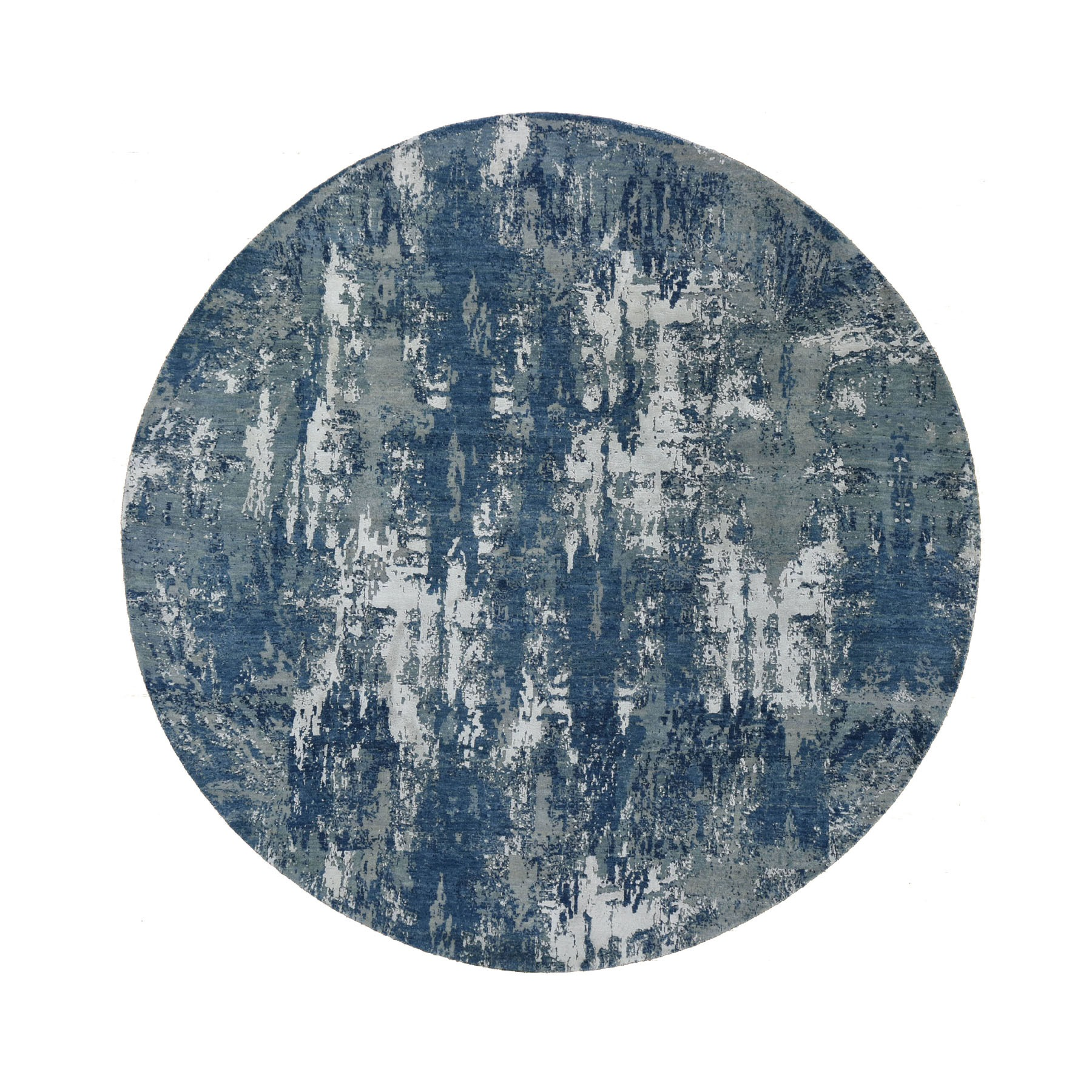 "8'1""x8'1"" Blue Abstract Design Wool and Pure Silk Hand Woven Round Oriental Rug"