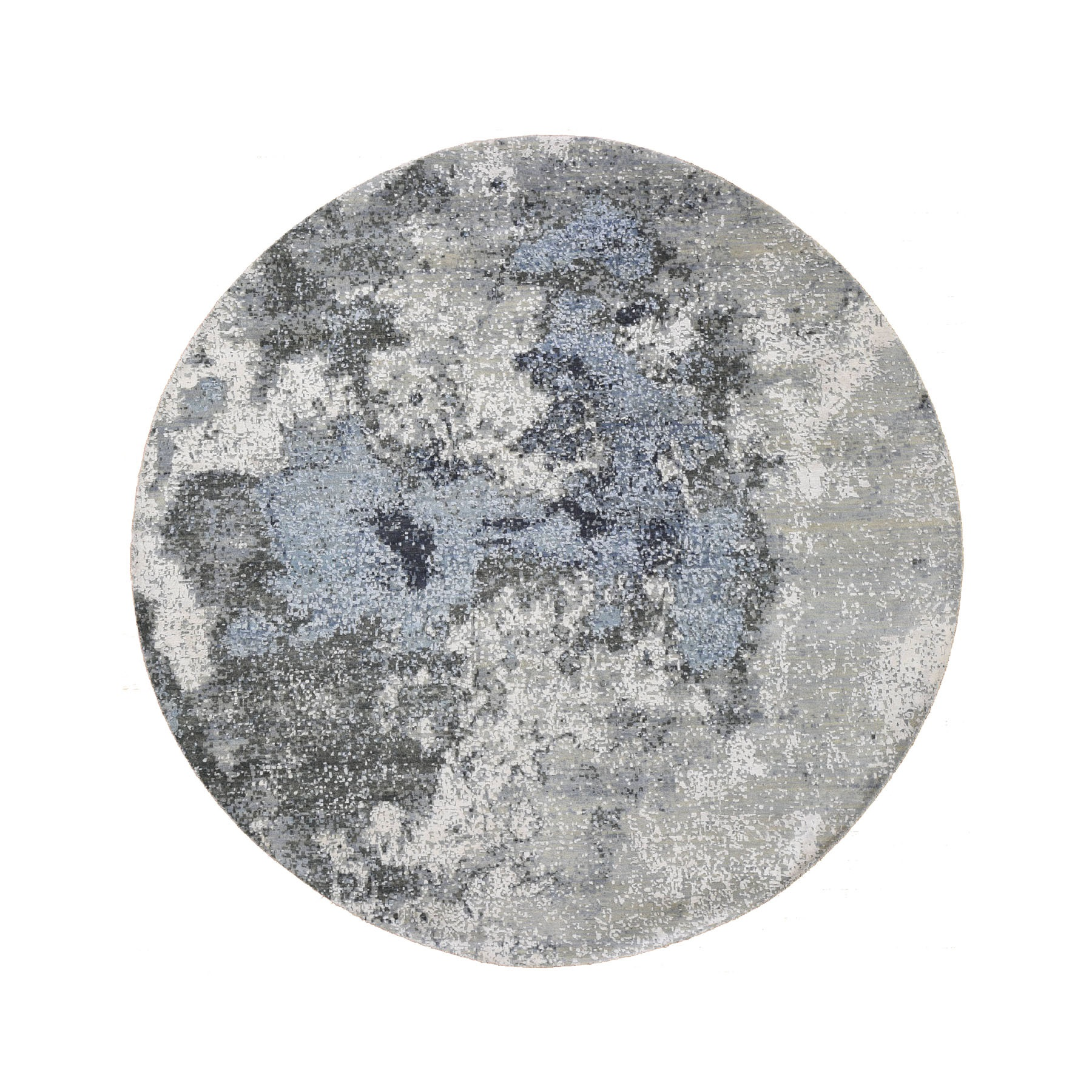8'x8' Gray Abstract Design Wool And Pure Silk Hand Woven Round Oriental Rug