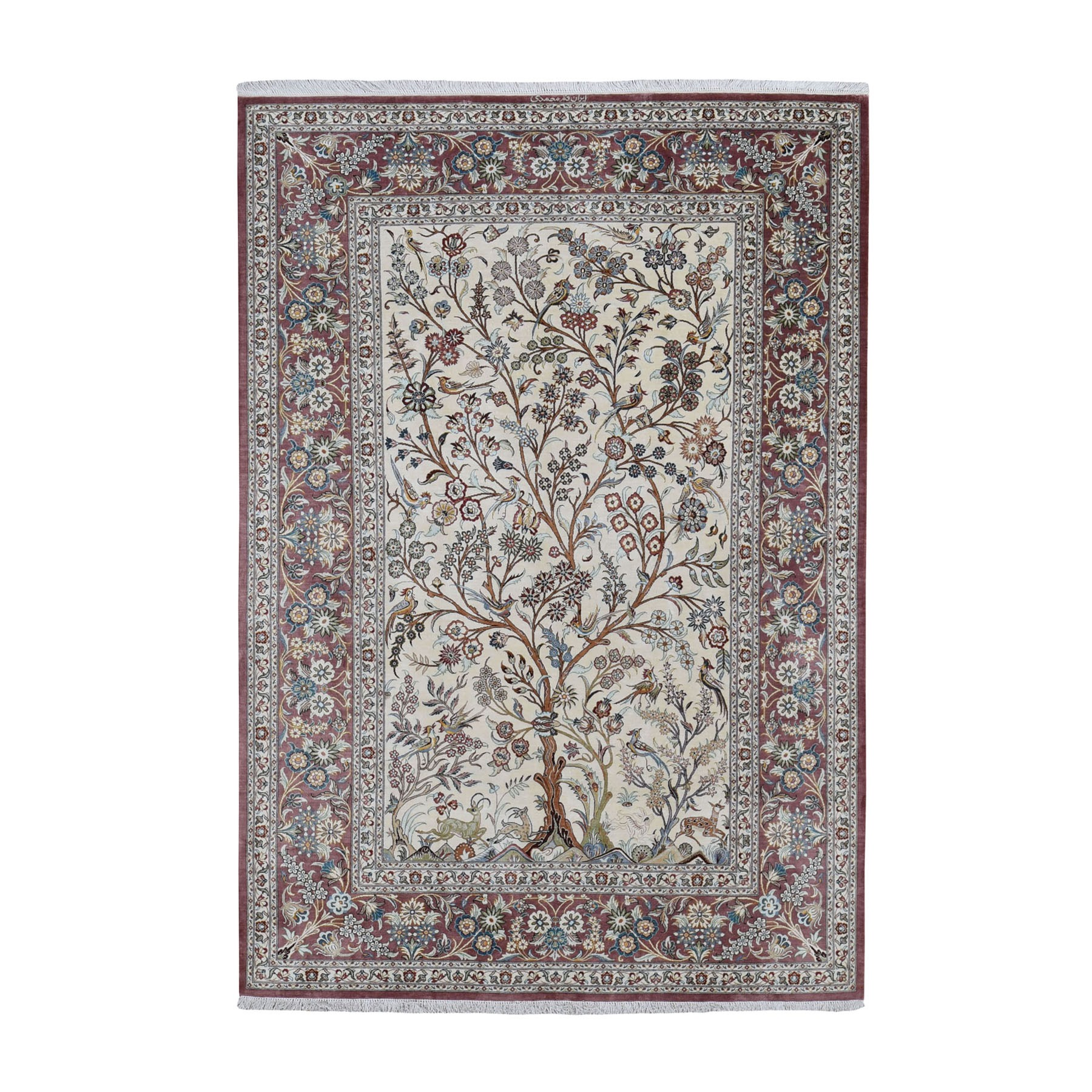 "4'2""x6'6""  Ivory Pure Silk Persian Qum Signed 600 KPSI Tree Of Life Hand Woven Oriental Rug"