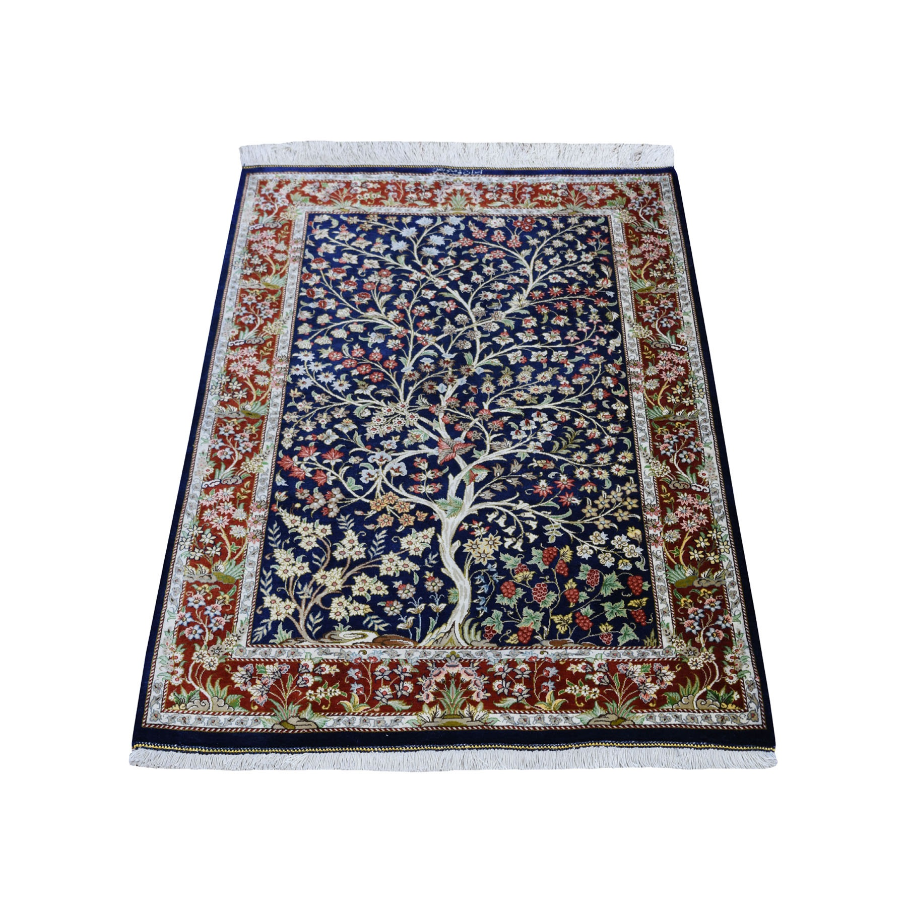 "2'7""x4' Navy Blue Pure Silk Persian Qum Signed 600 KPSI Tree Of Life Hand Woven Oriental Rug"