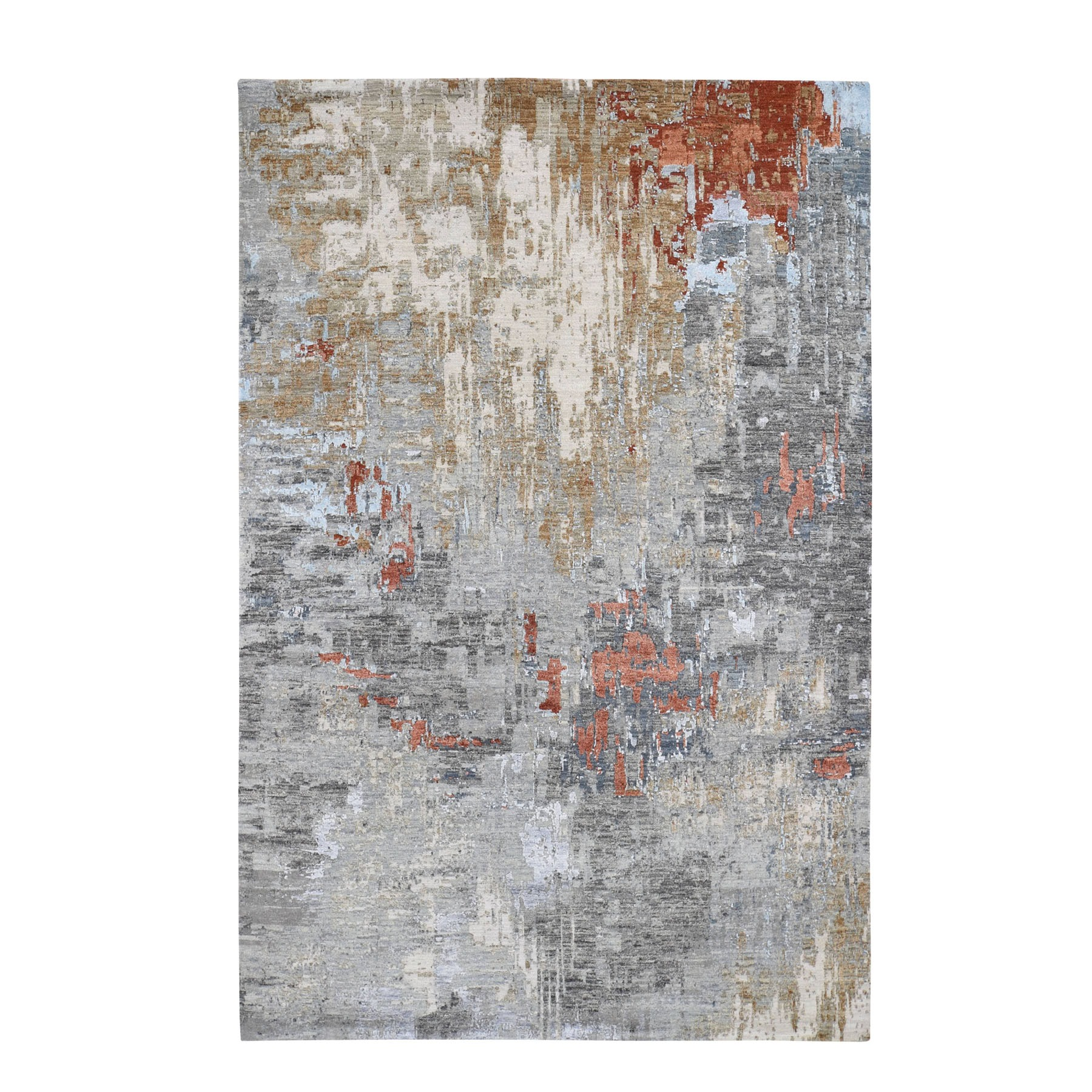 "6'x8'10"" Red Abstract Design Wool and Silk Hi-Low Pile Denser Weave Hand Woven Oriental Rug"