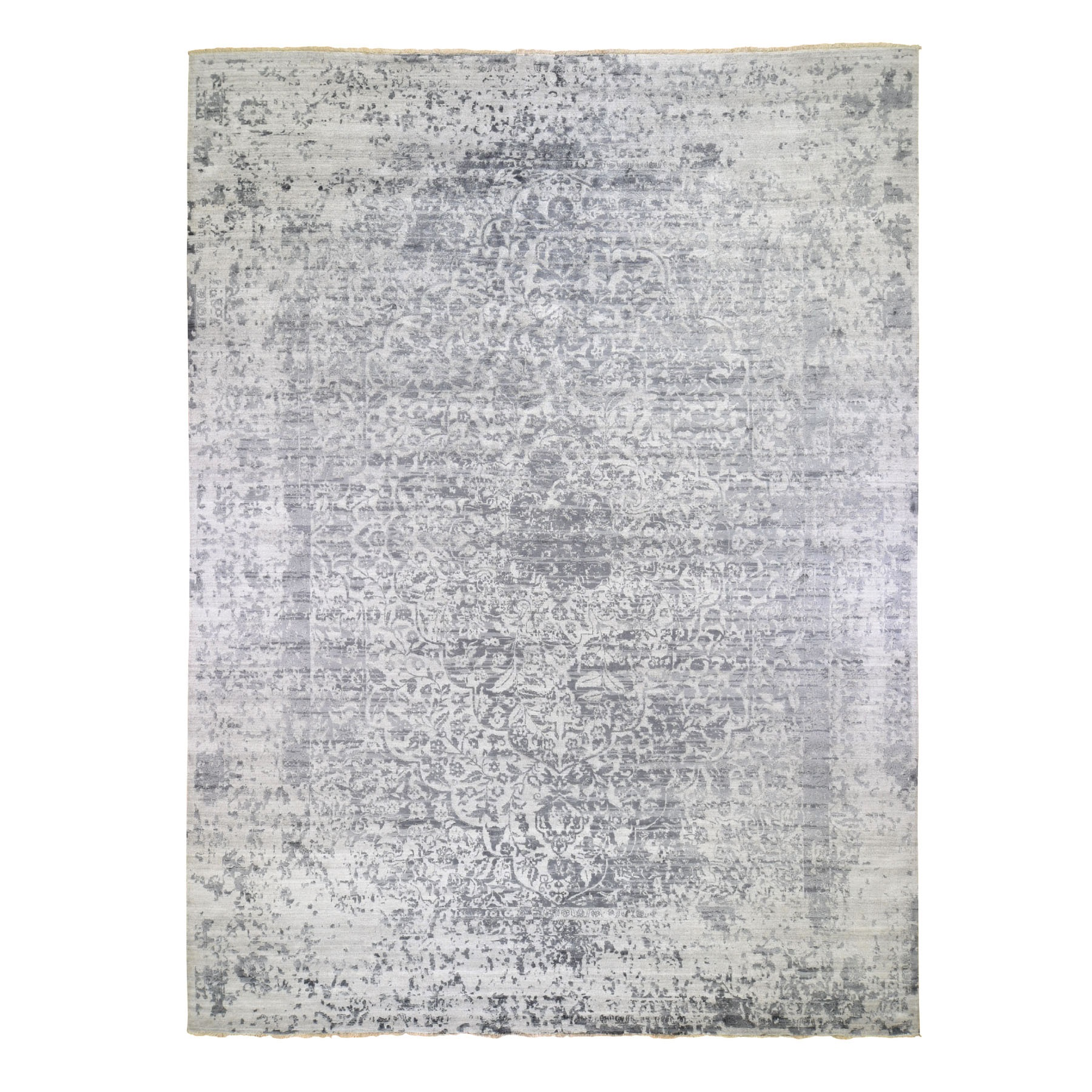 "12'x15'2"" Oversized Silver-Dark Gray Erased Persian Design Wool and Pure Silk Hand Woven Oriental Rug"